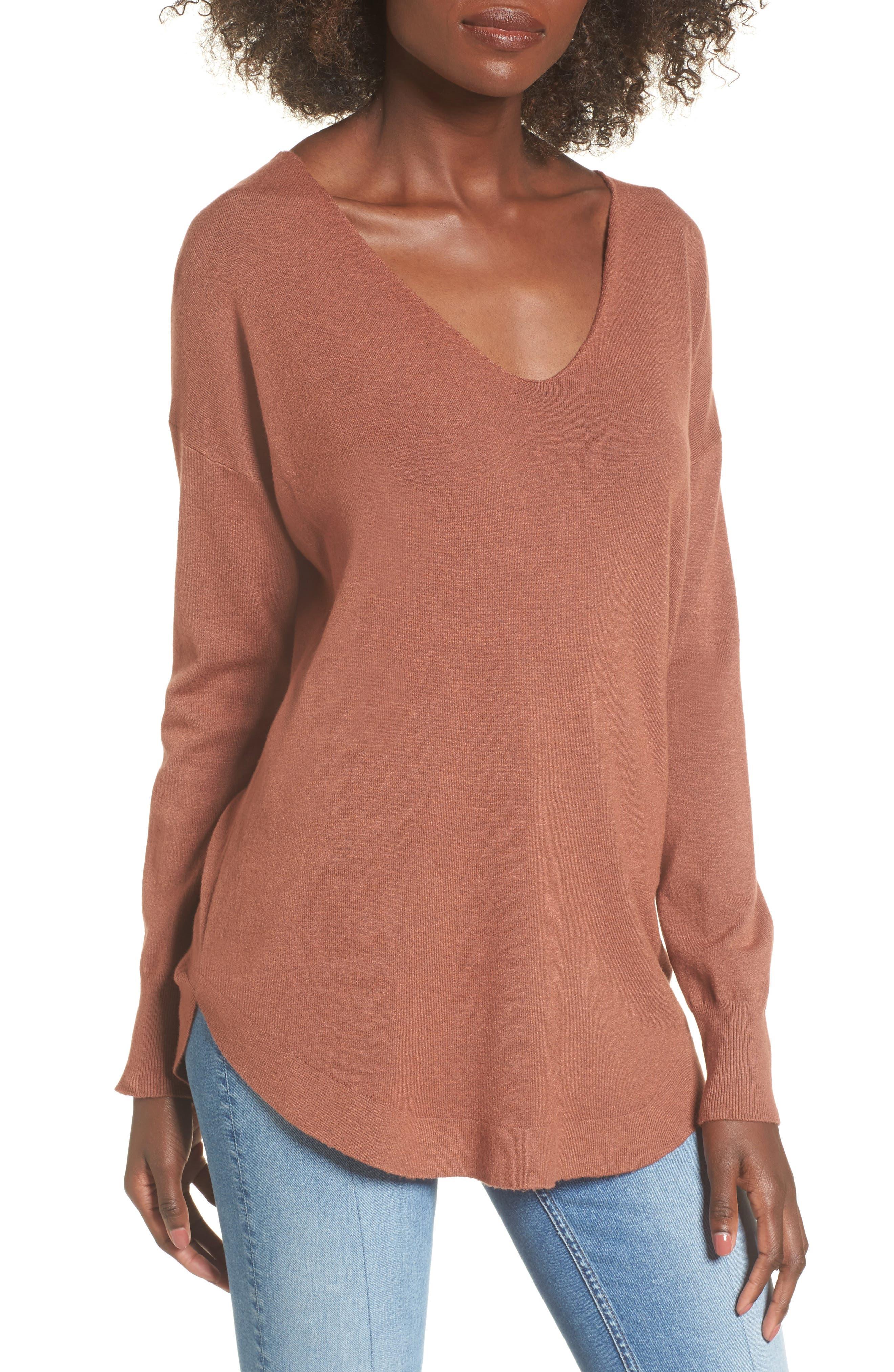 Laced Up V-Back Sweater,                         Main,                         color, Ginger