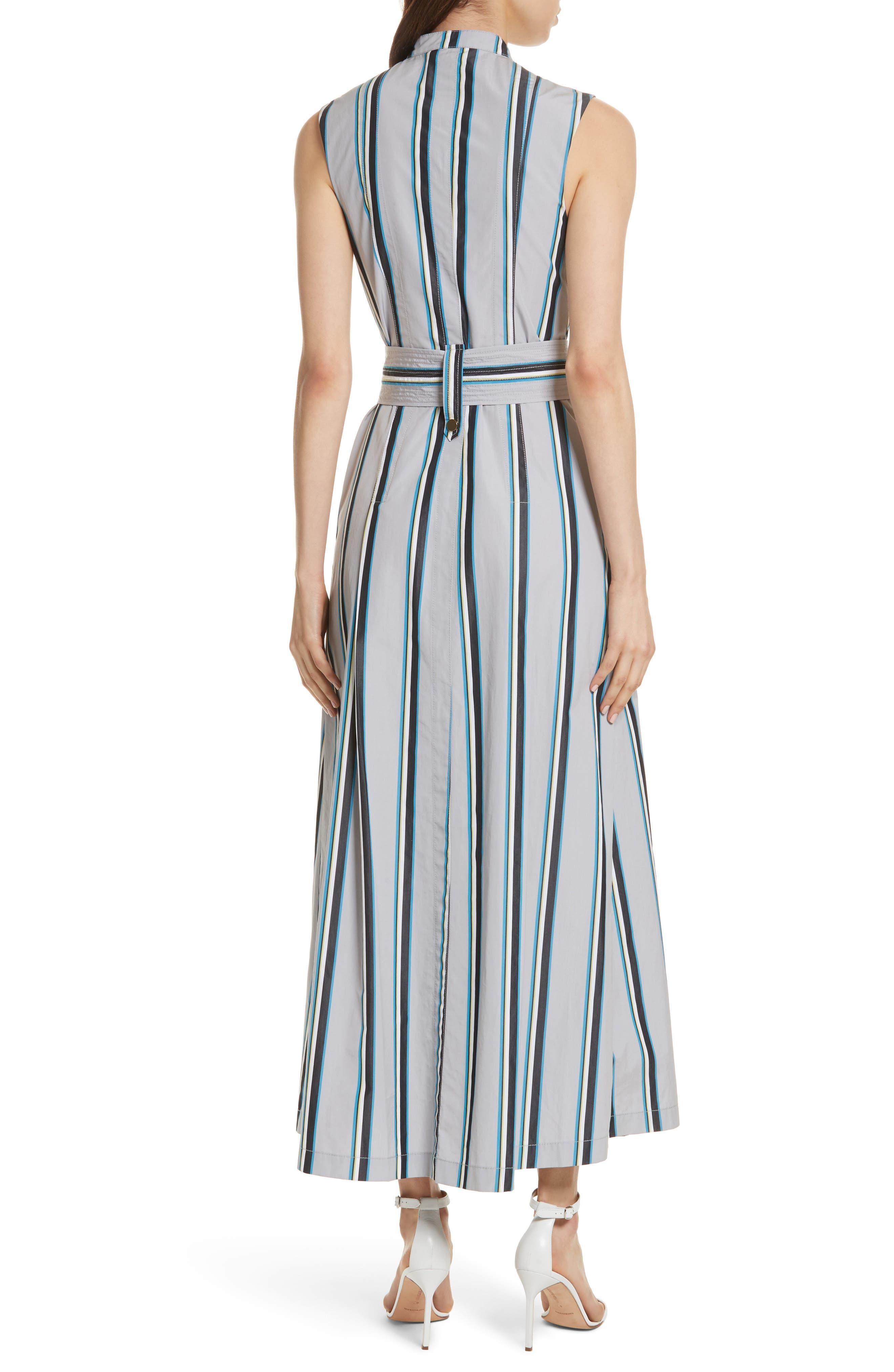 Diane von Furstenberg Stripe Belted Maxi Dress,                             Alternate thumbnail 2, color,                             Smoke Multi