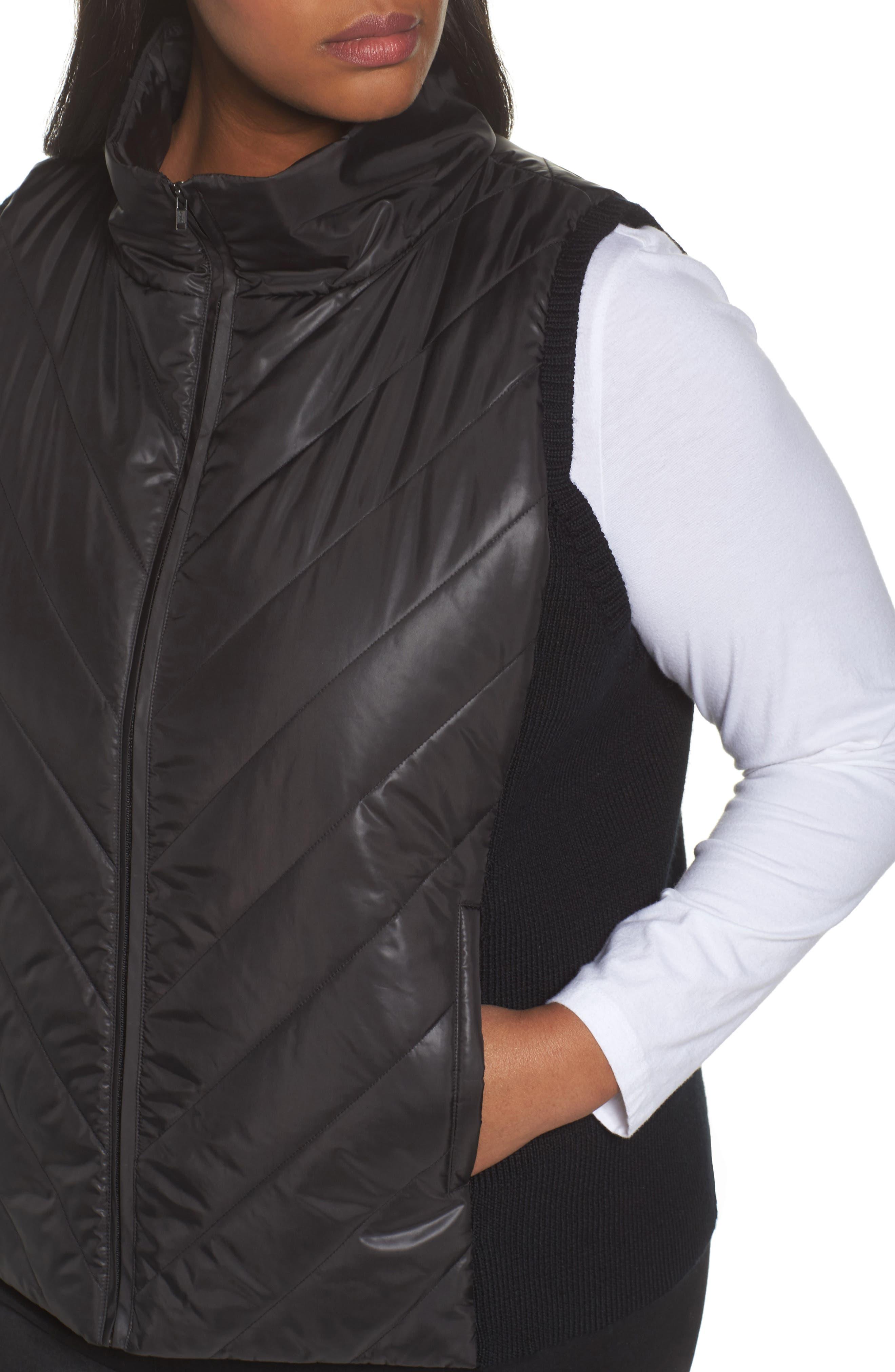 Merino Wool Trim Puffer Vest,                             Alternate thumbnail 4, color,                             Black