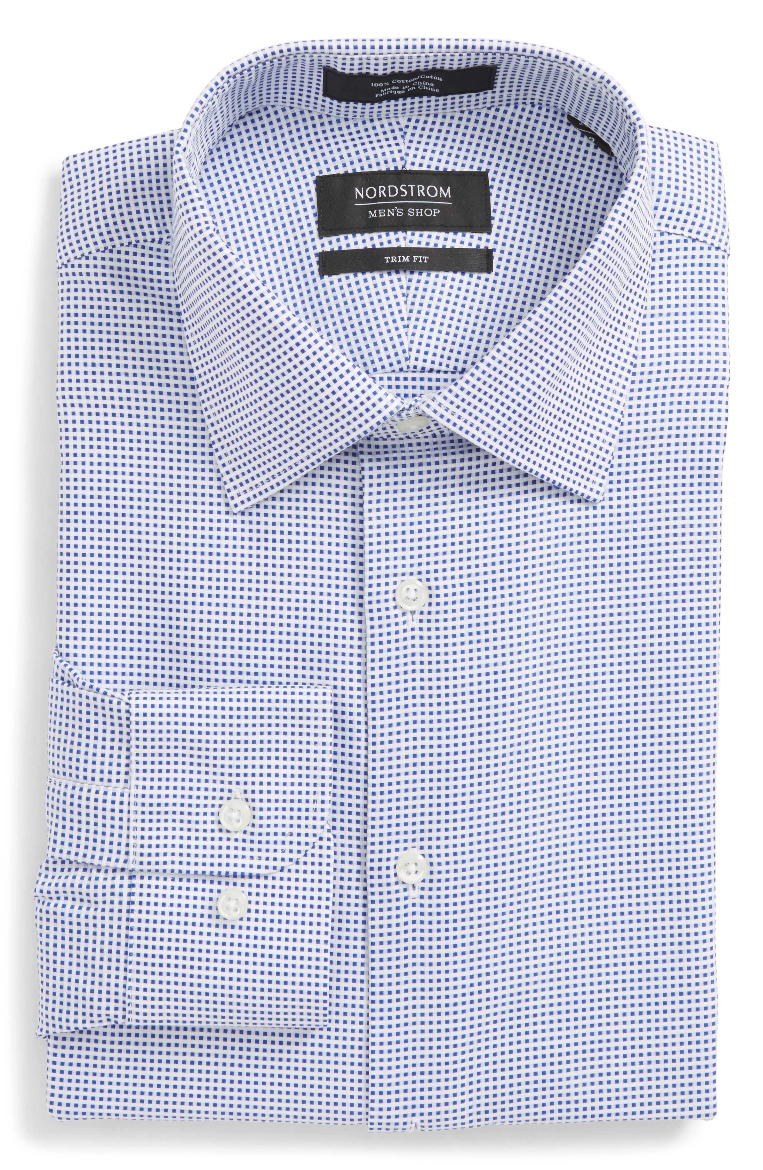 Trim Fit Microcheck Dress Shirt,                             Alternate thumbnail 6, color,                             Blue Surf