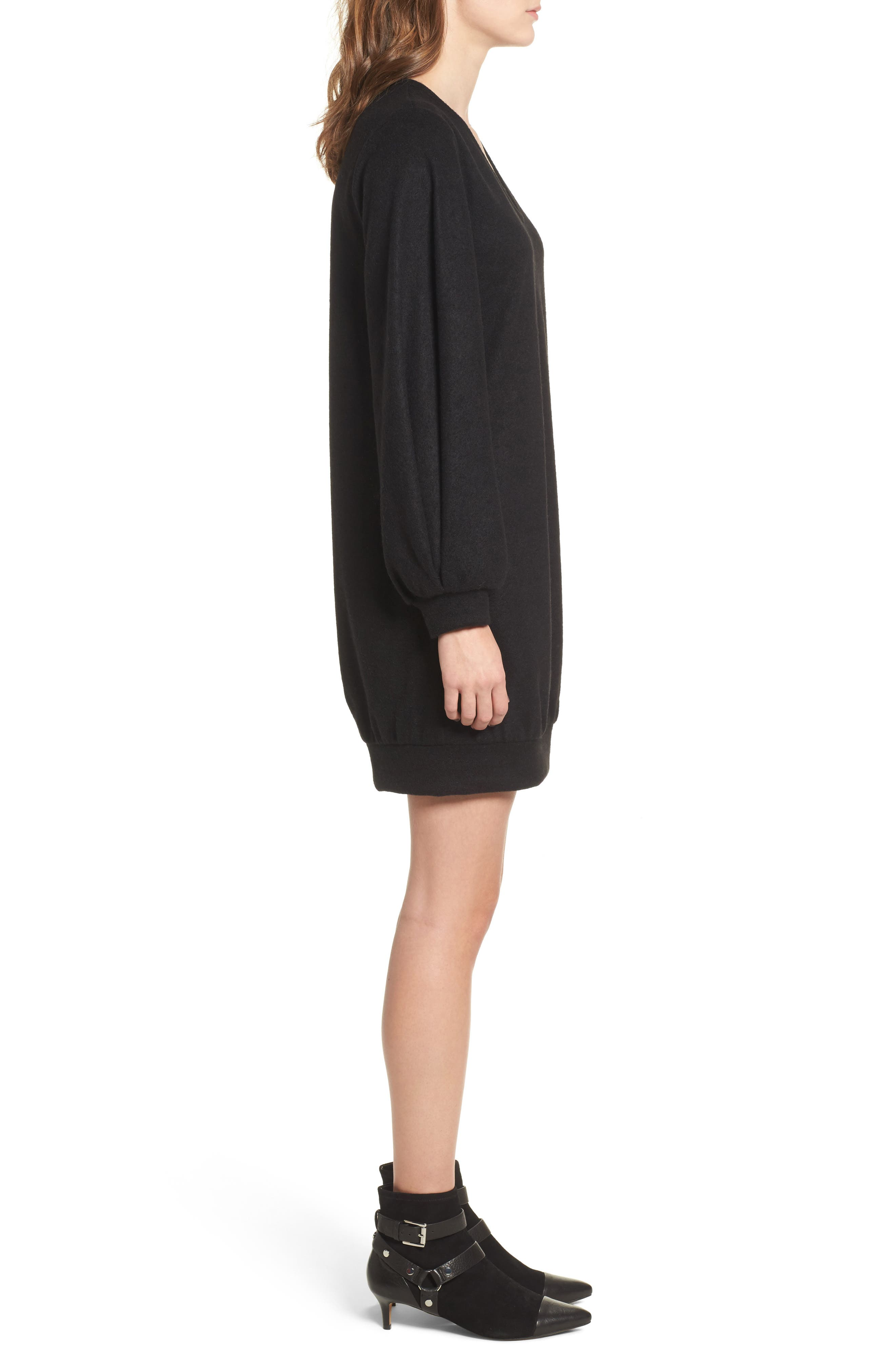 Balloon Sleeve Sweater Dress,                             Alternate thumbnail 3, color,                             Black
