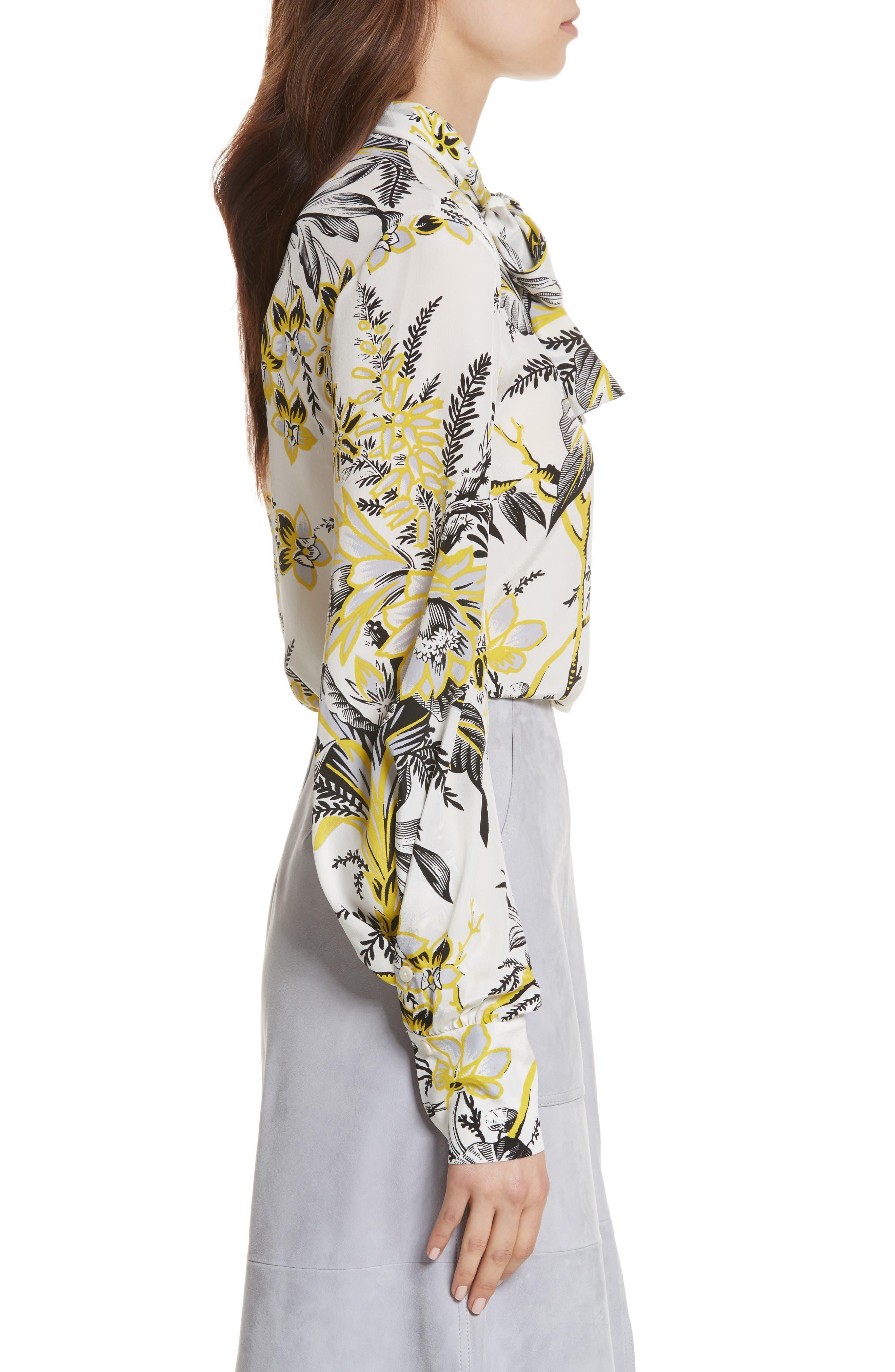 Diane von Furstenberg Tie Neck Silk Blouse,                             Alternate thumbnail 3, color,                             Avalon Ivory