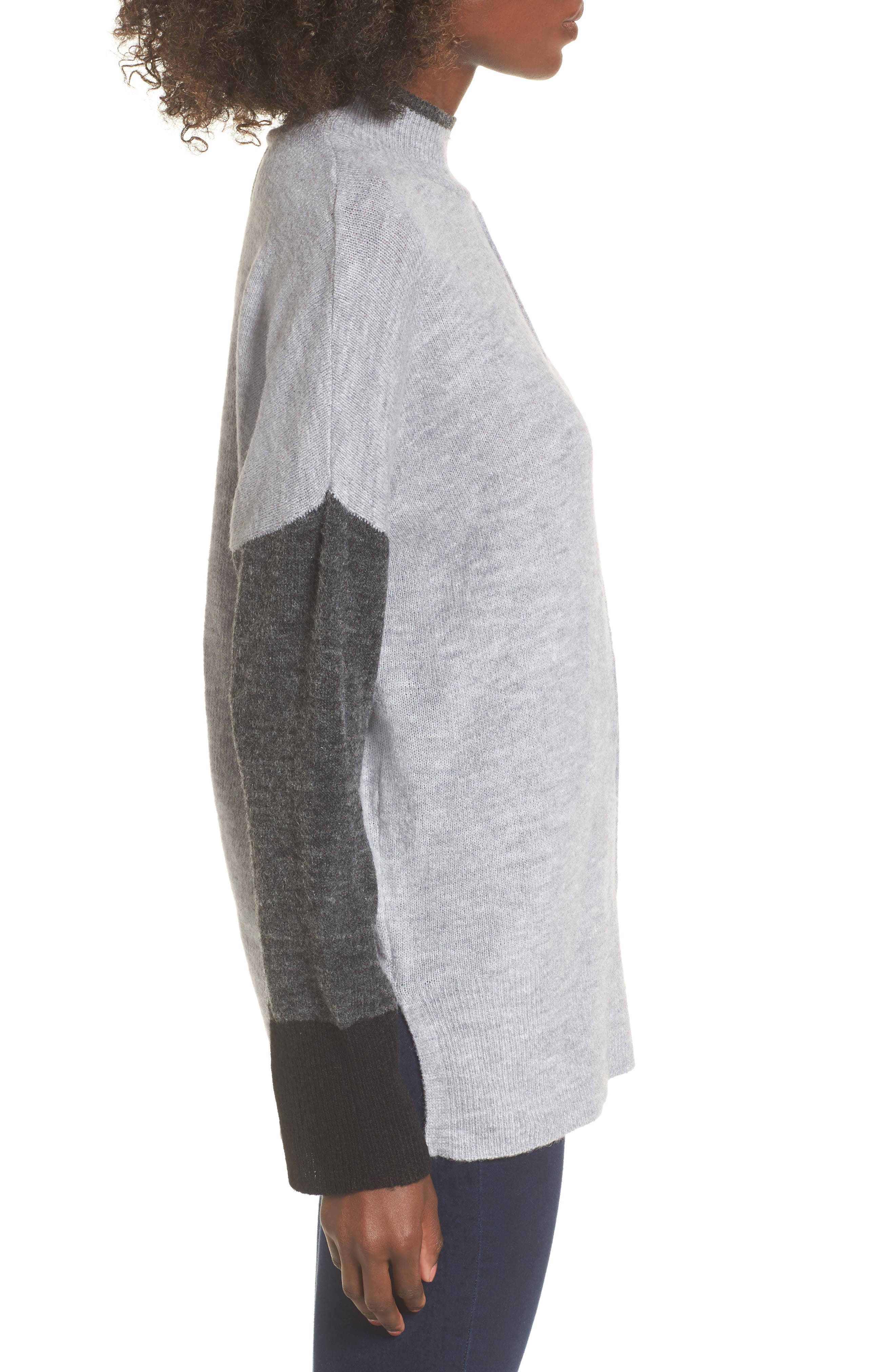 Color Block Mock Neck Sweater,                             Alternate thumbnail 3, color,                             Grey