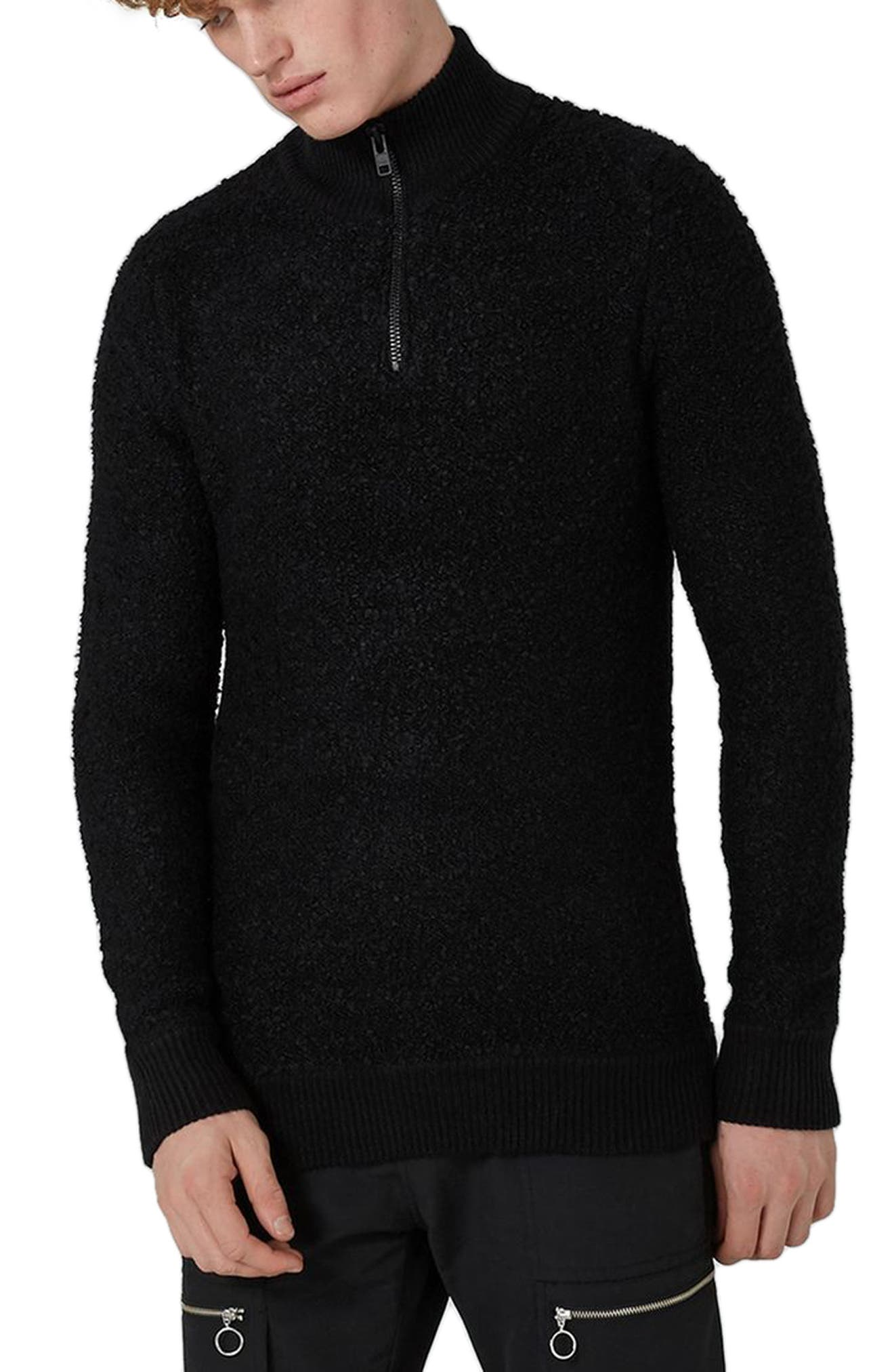 Topman Quarter-Zip Bouclé Sweater
