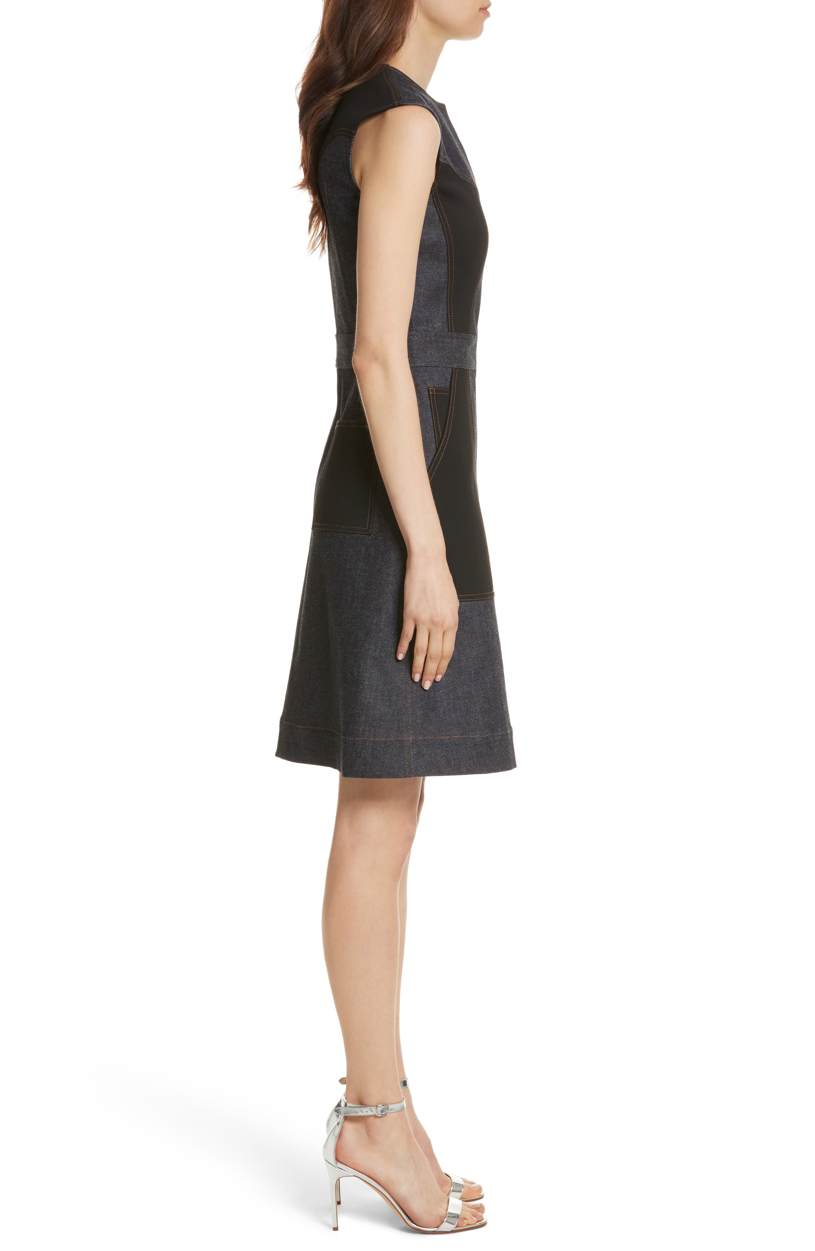 Diane von Furstenberg Front Zip Denim Dress,                             Alternate thumbnail 3, color,                             Indigo/ Black
