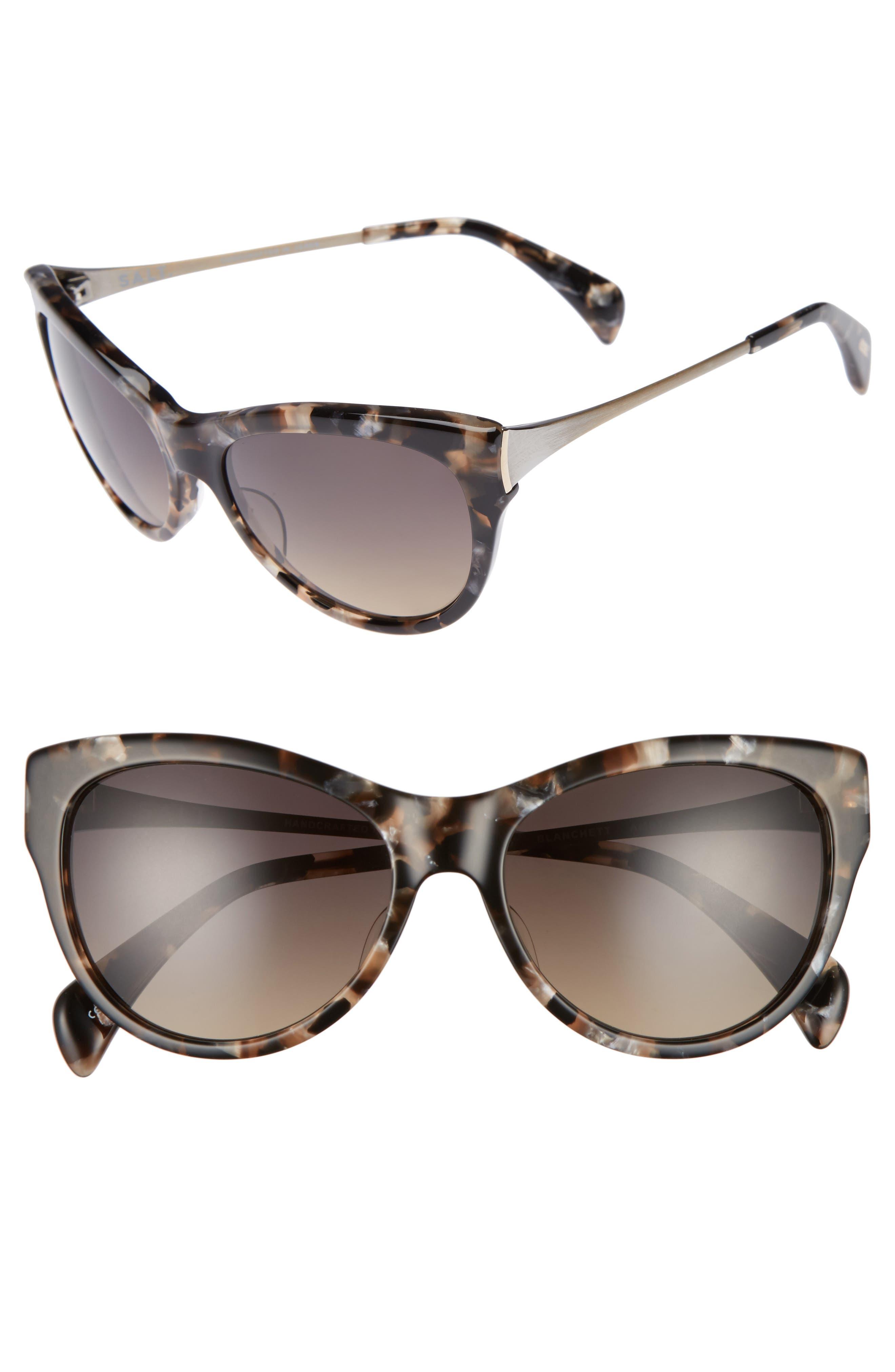 Blanchett 55mm Polarized Cat Eye Sunglasses,                         Main,                         color, Amber Turtle