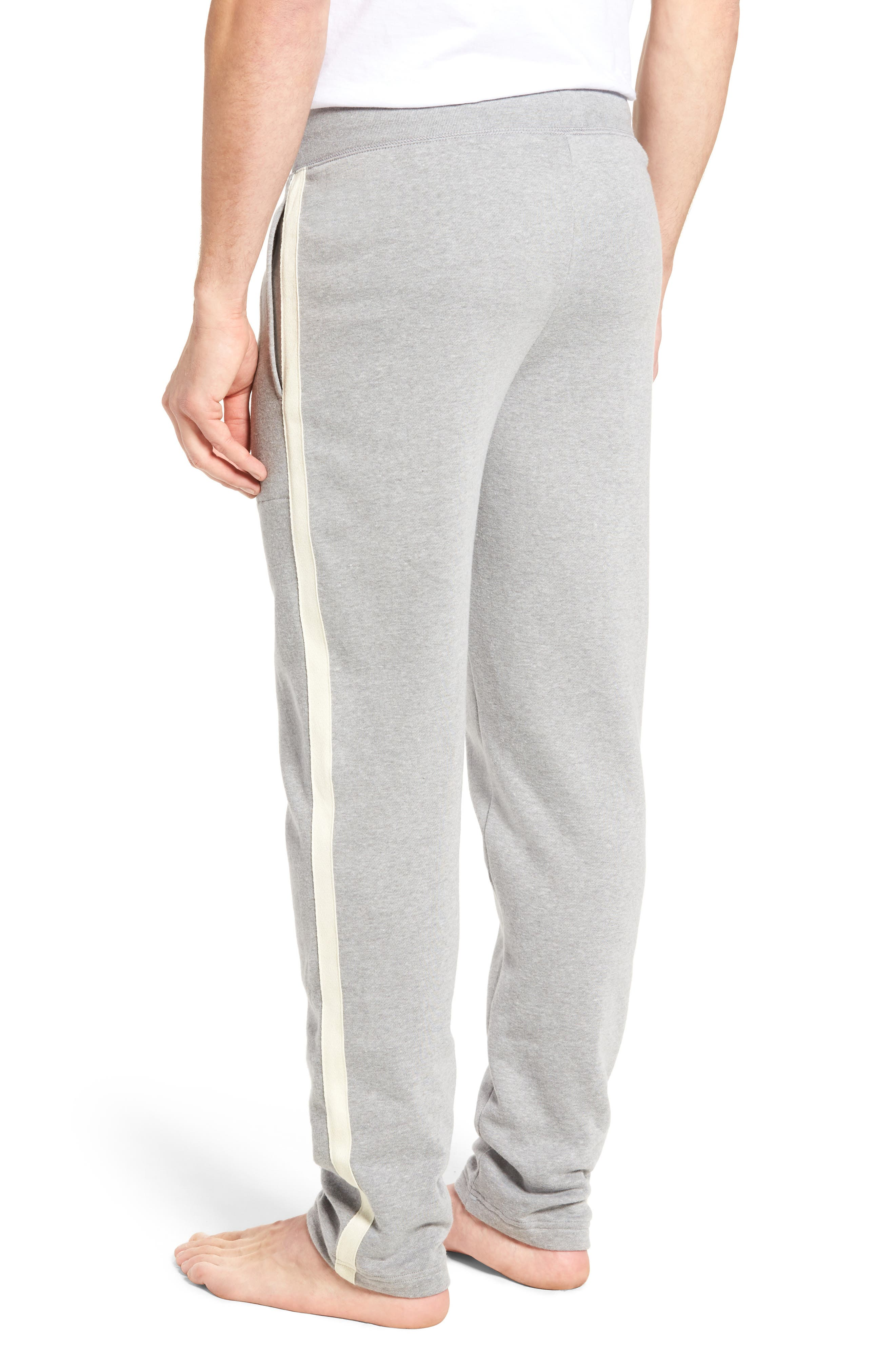 Slim Fit Brushed Fleece Pajama Pants,                             Alternate thumbnail 2, color,                             Andover Heather/ Cream