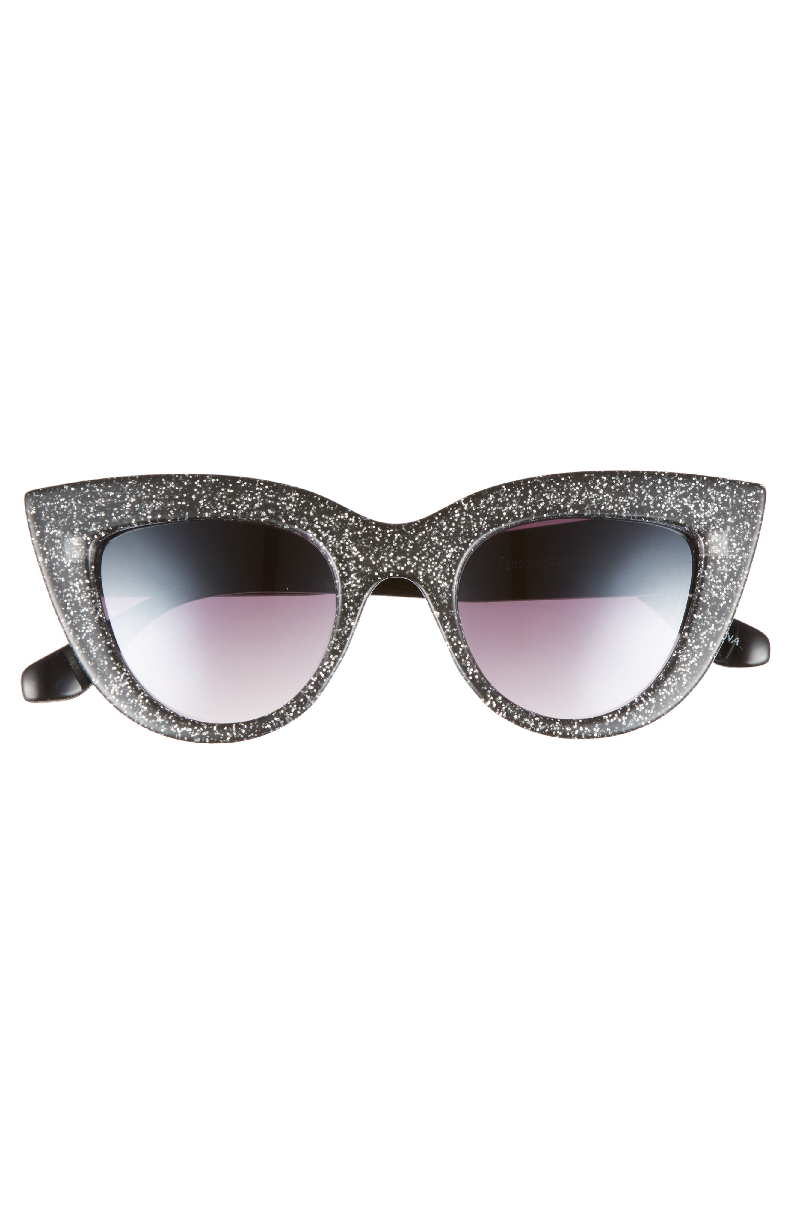 45mm Glitter Cat Eye Sunglasses,                             Alternate thumbnail 3, color,                             Black/ Silver