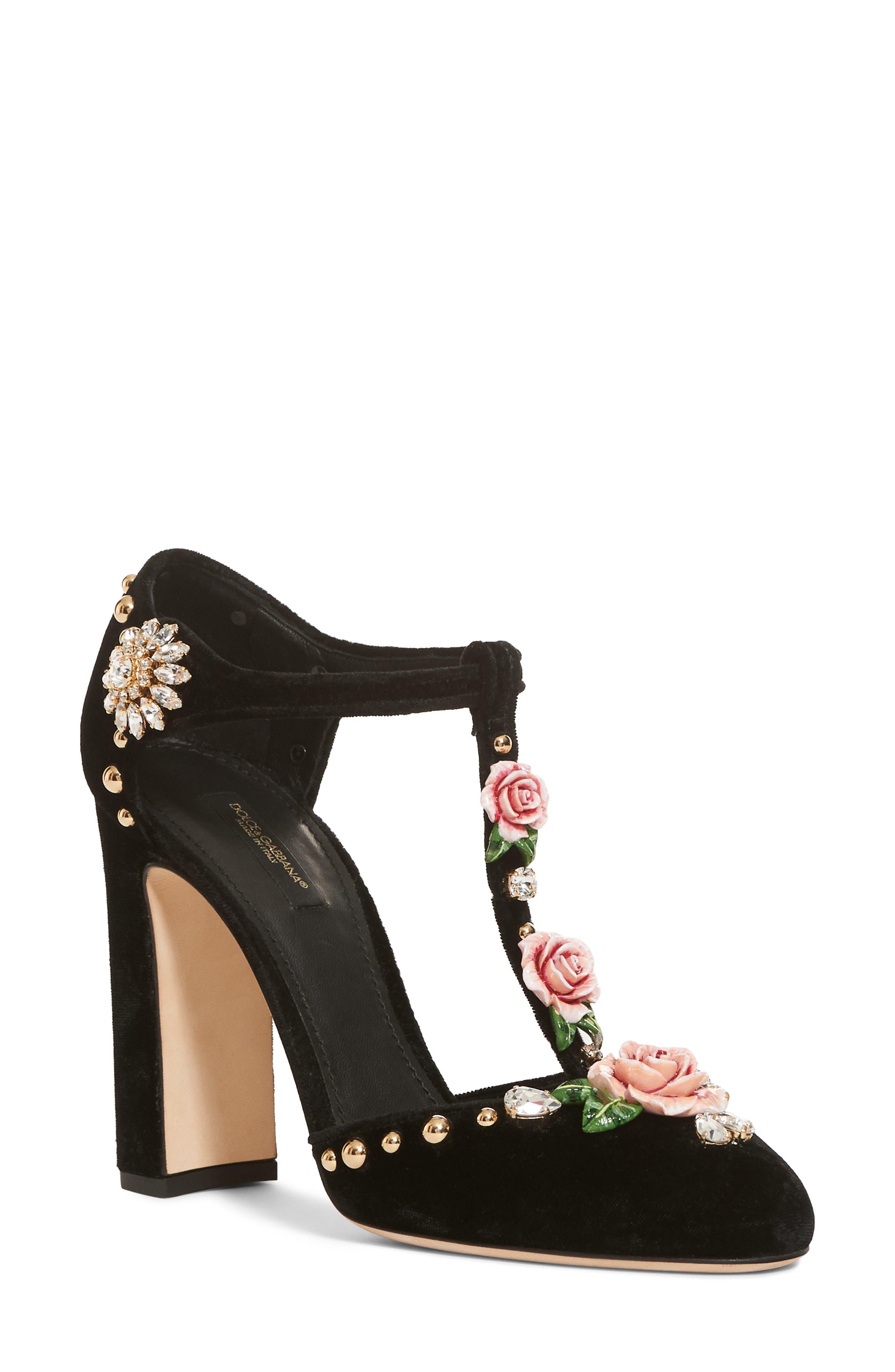 Dolce&Gabbana T-Strap Rose Pump (Women)