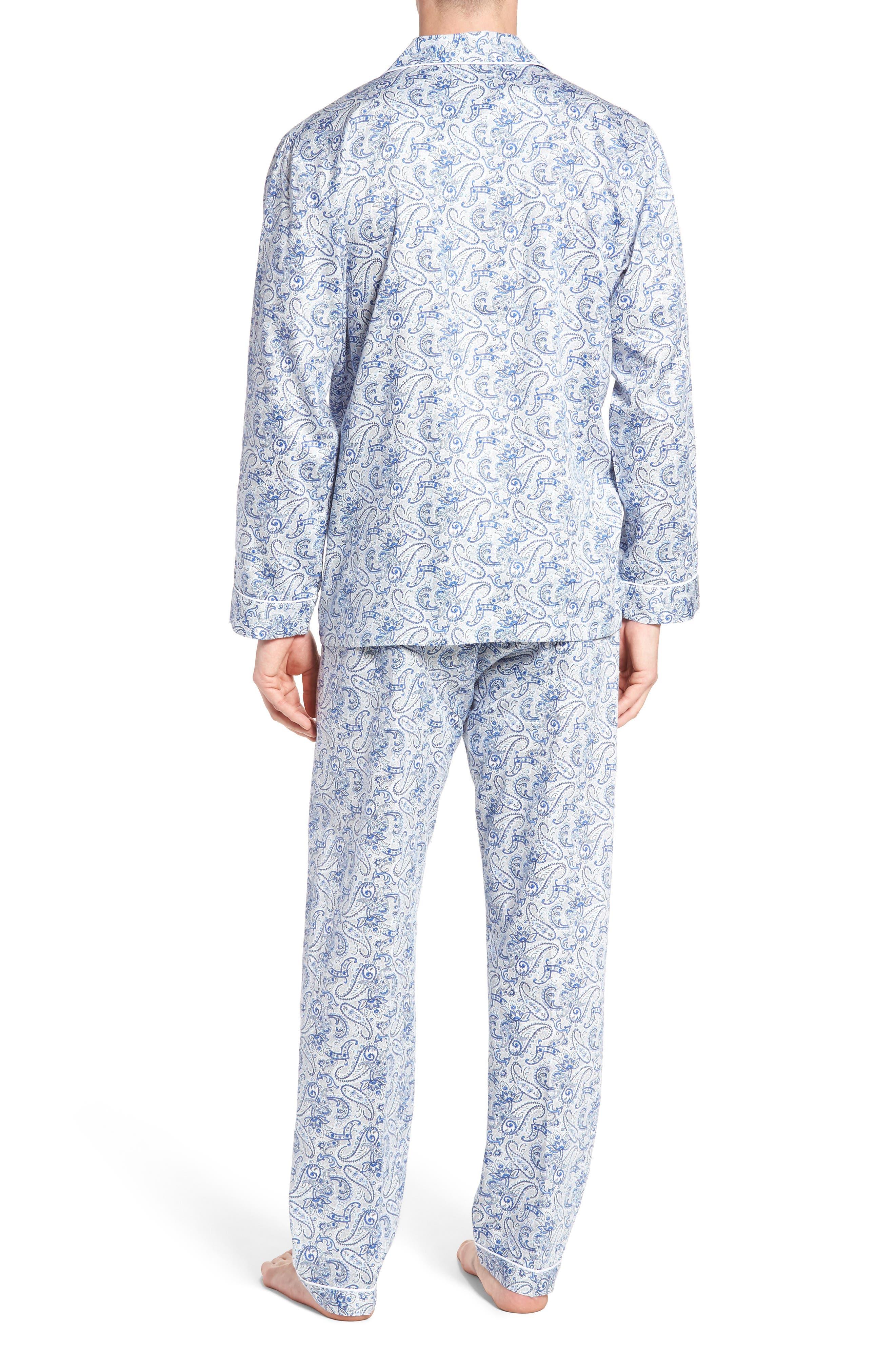 Sateen Pajamas,                             Alternate thumbnail 2, color,                             Blue Paisley