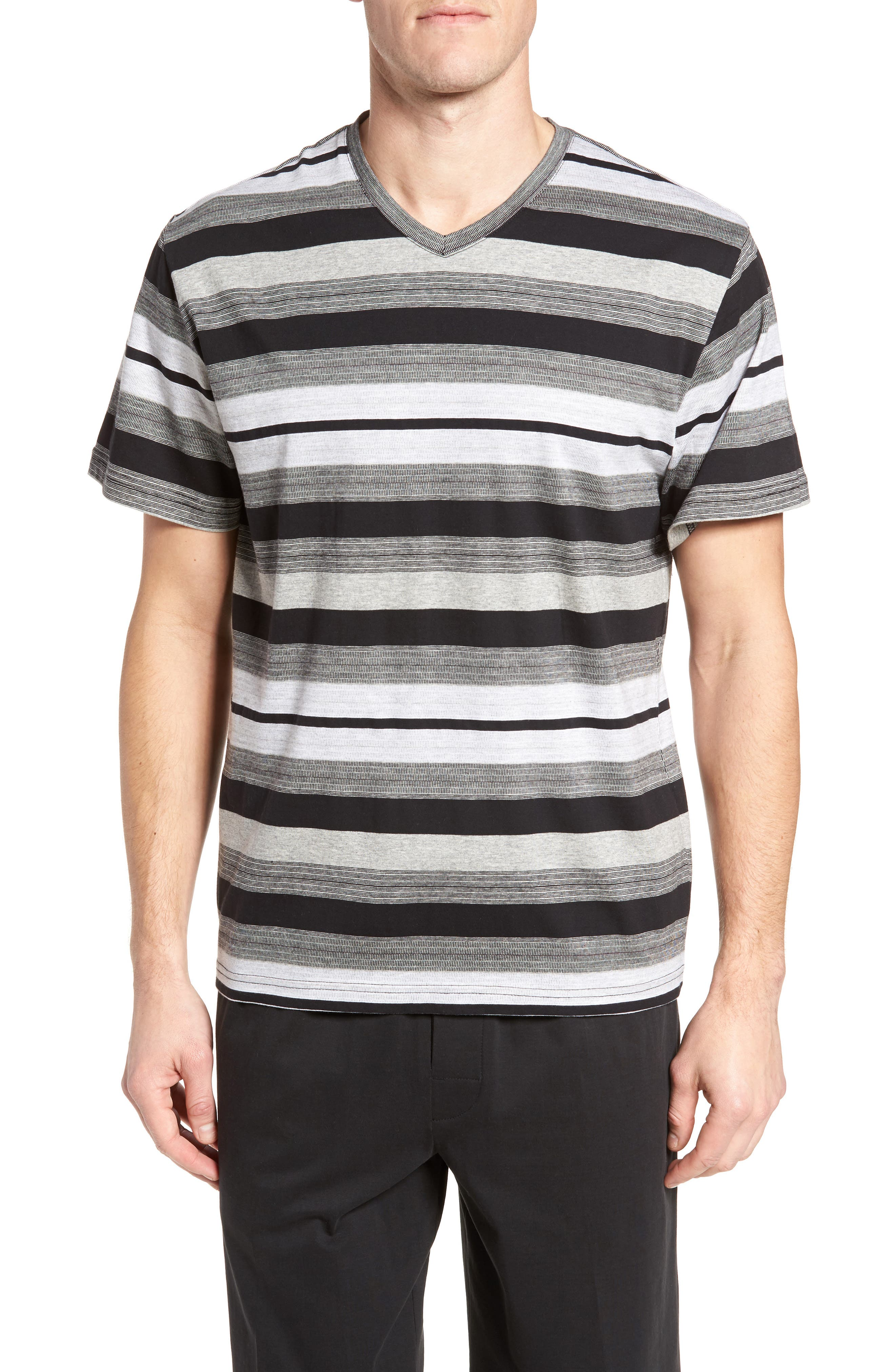 Alternate Image 1 Selected - Majestic International Stripe V-Neck T-Shirt