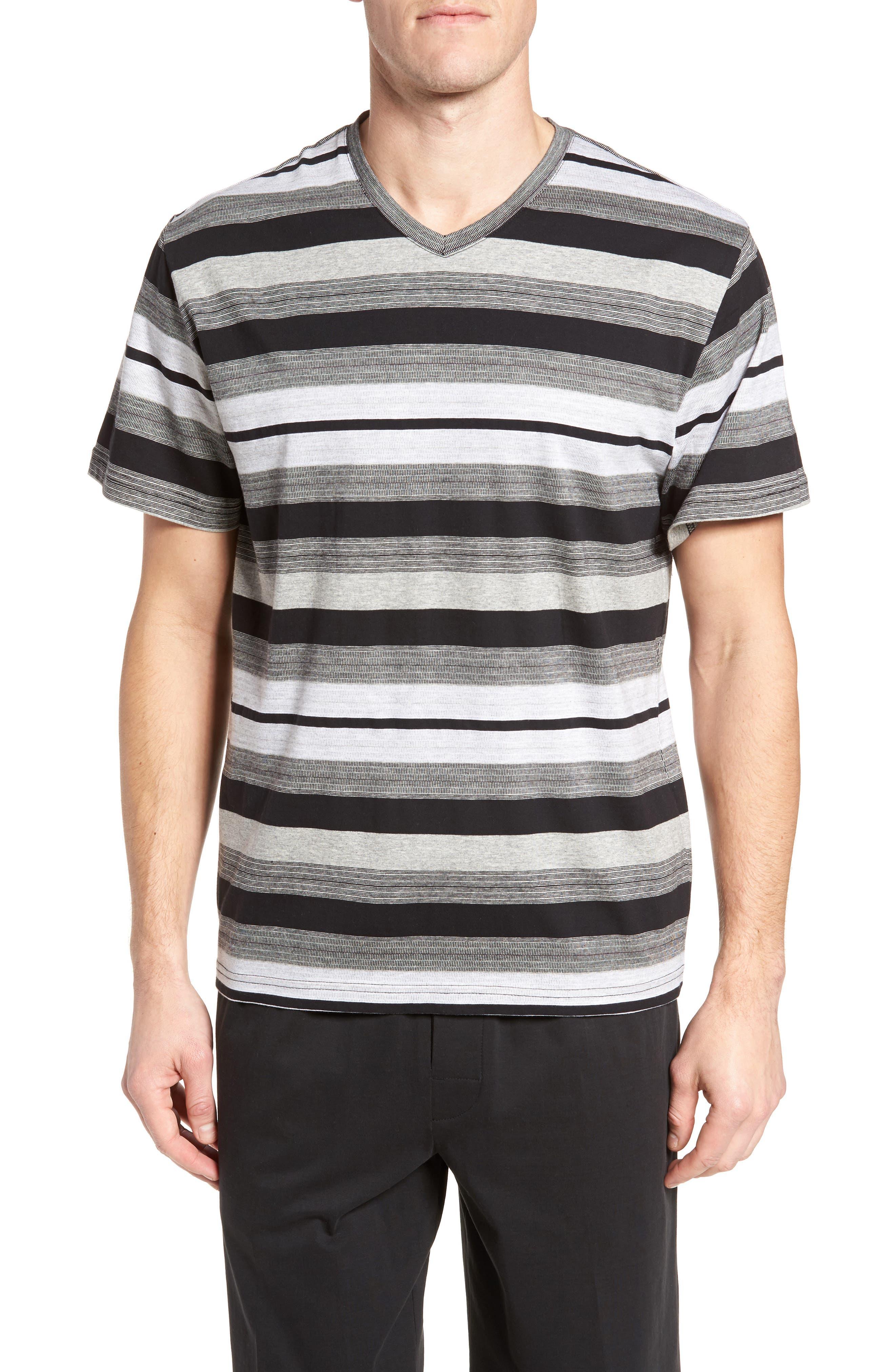 Stripe V-Neck T-Shirt,                         Main,                         color, Black Stripe
