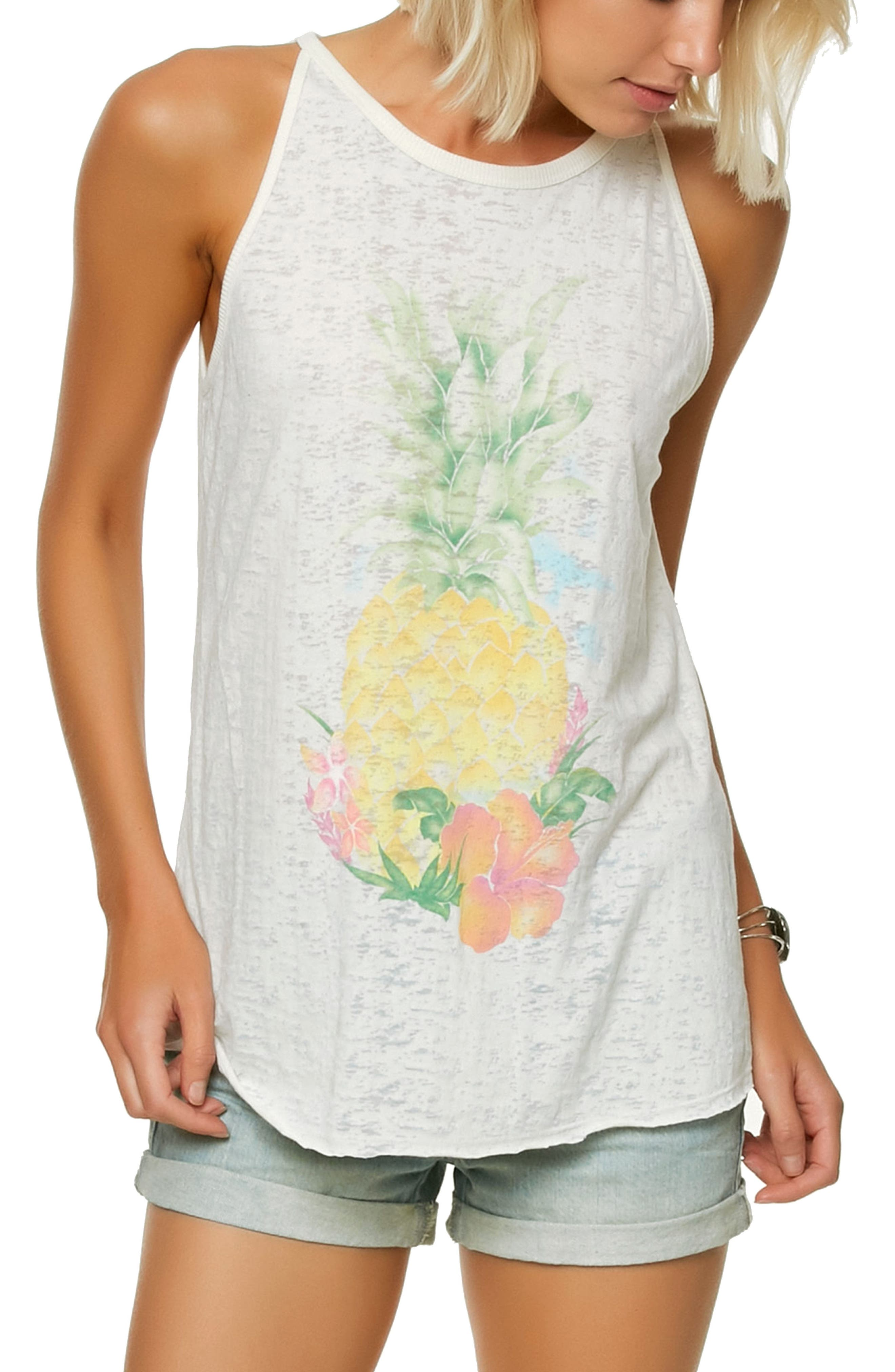 Pineapple Graphic Tank Top,                             Main thumbnail 1, color,                             Naked