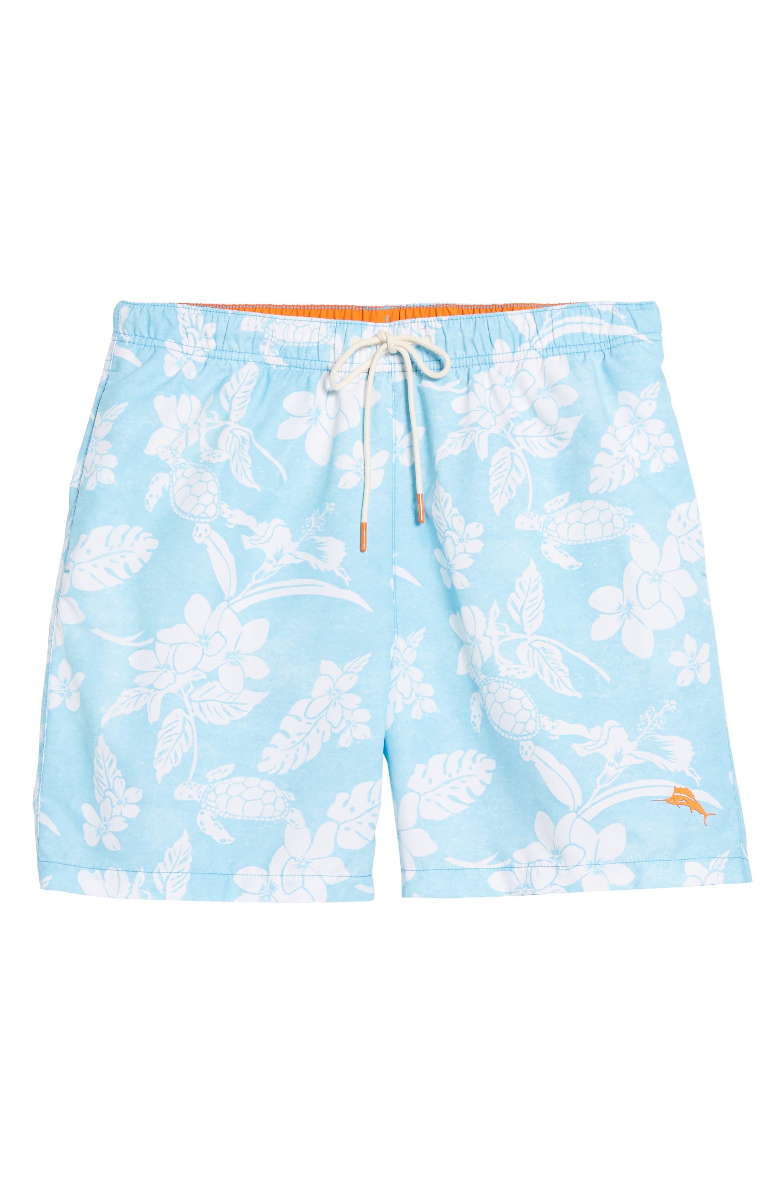 Naples Turtle Beach Swim Trunks,                             Alternate thumbnail 6, color,                             Breeze Blue