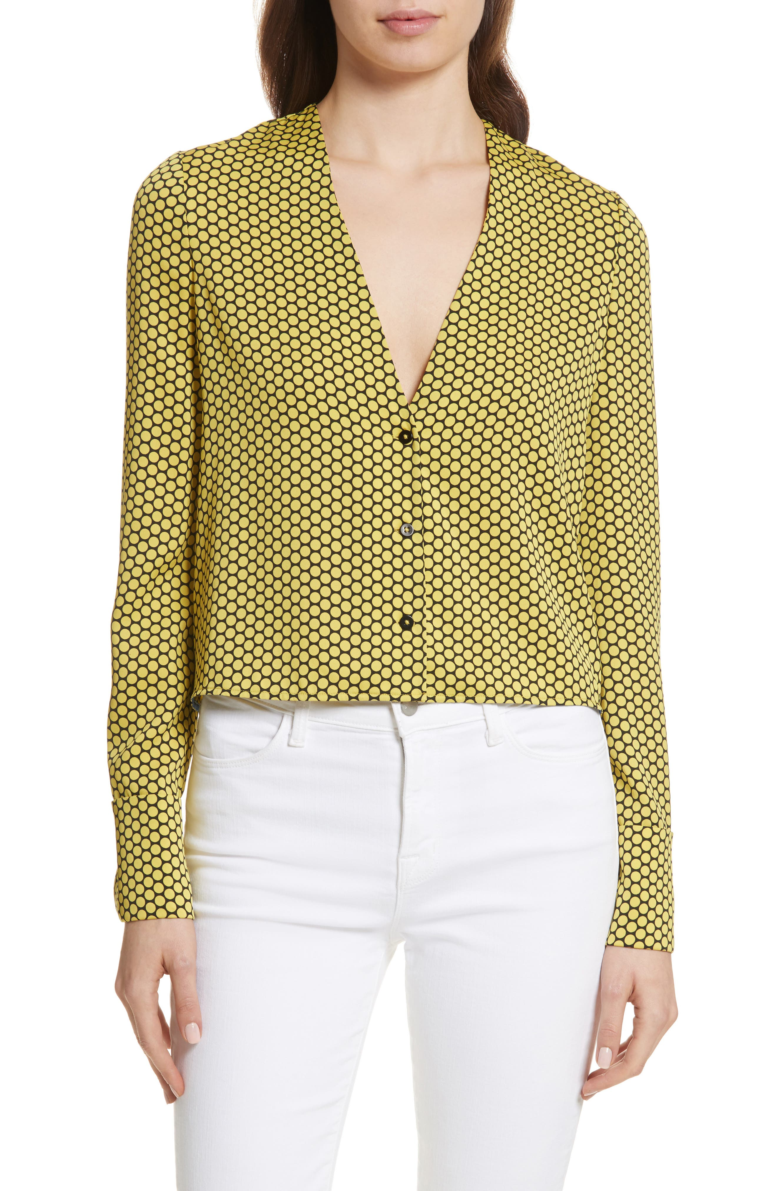 Double Cuff Stretch Silk Blouse,                             Main thumbnail 1, color,                             Rowe Dot Citron