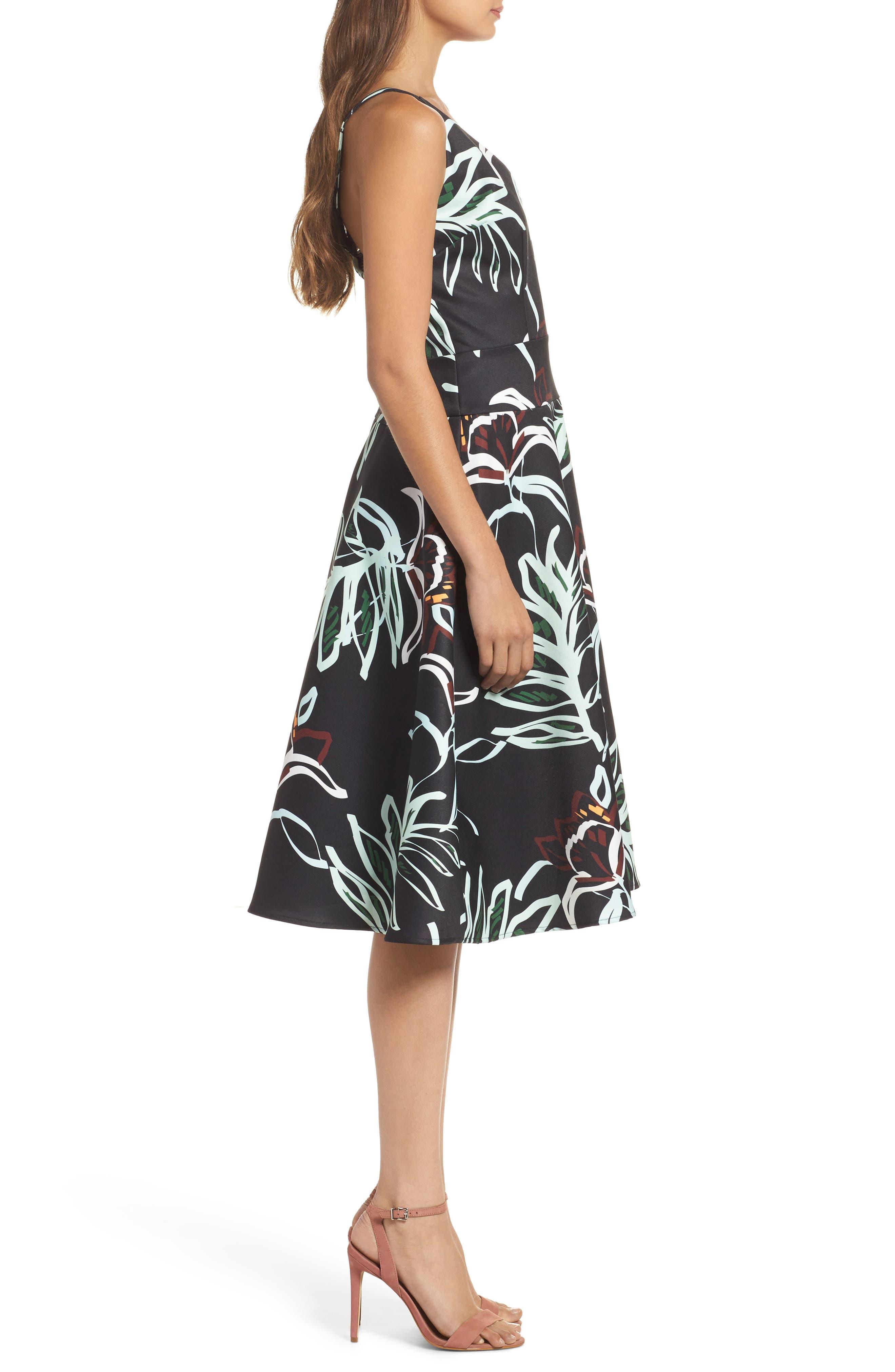 Rainforest Fit & Flare Dress,                             Alternate thumbnail 3, color,                             Print