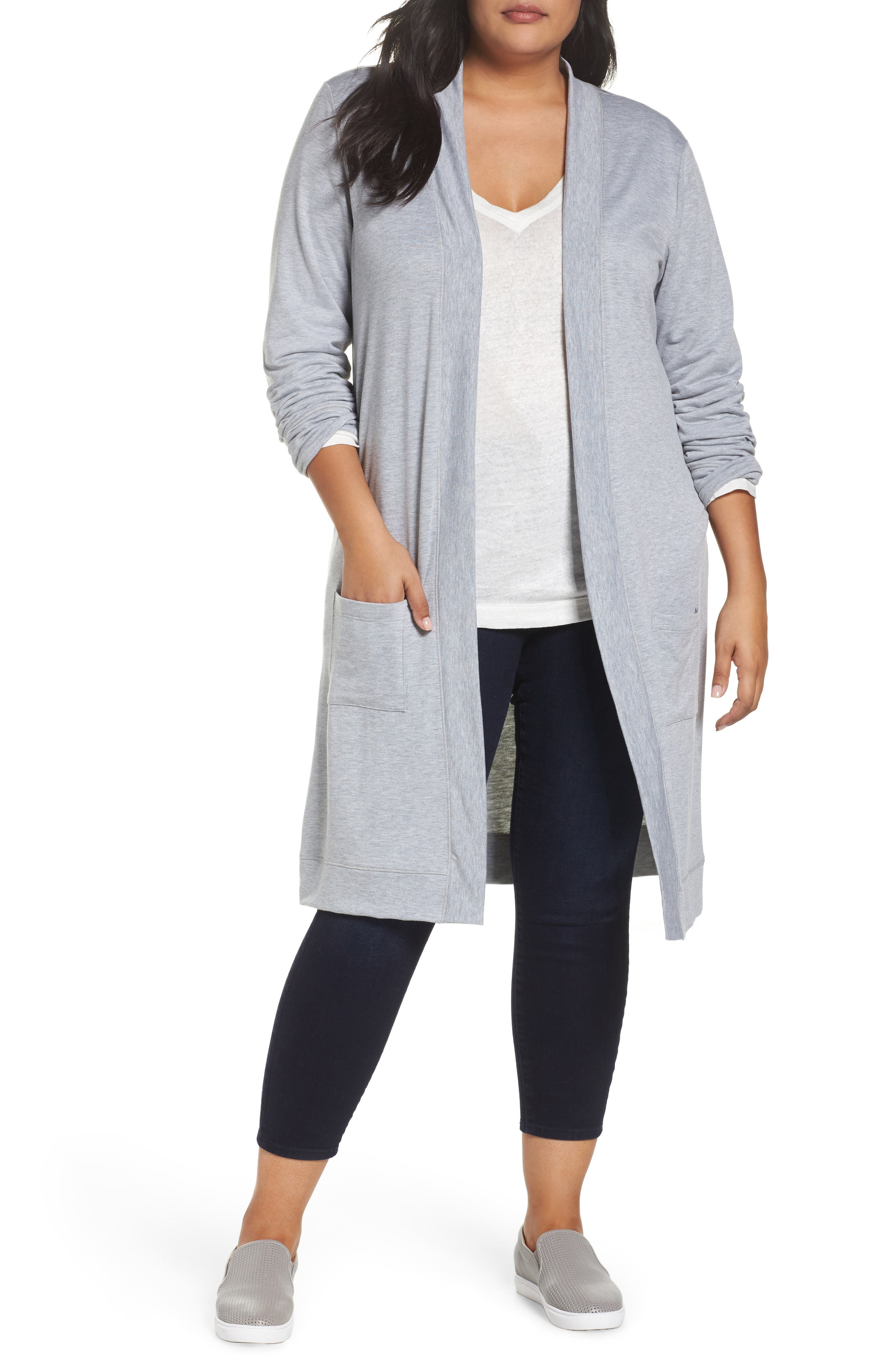 Main Image - Caslon® Long French Terry Cardigan (Plus Size)