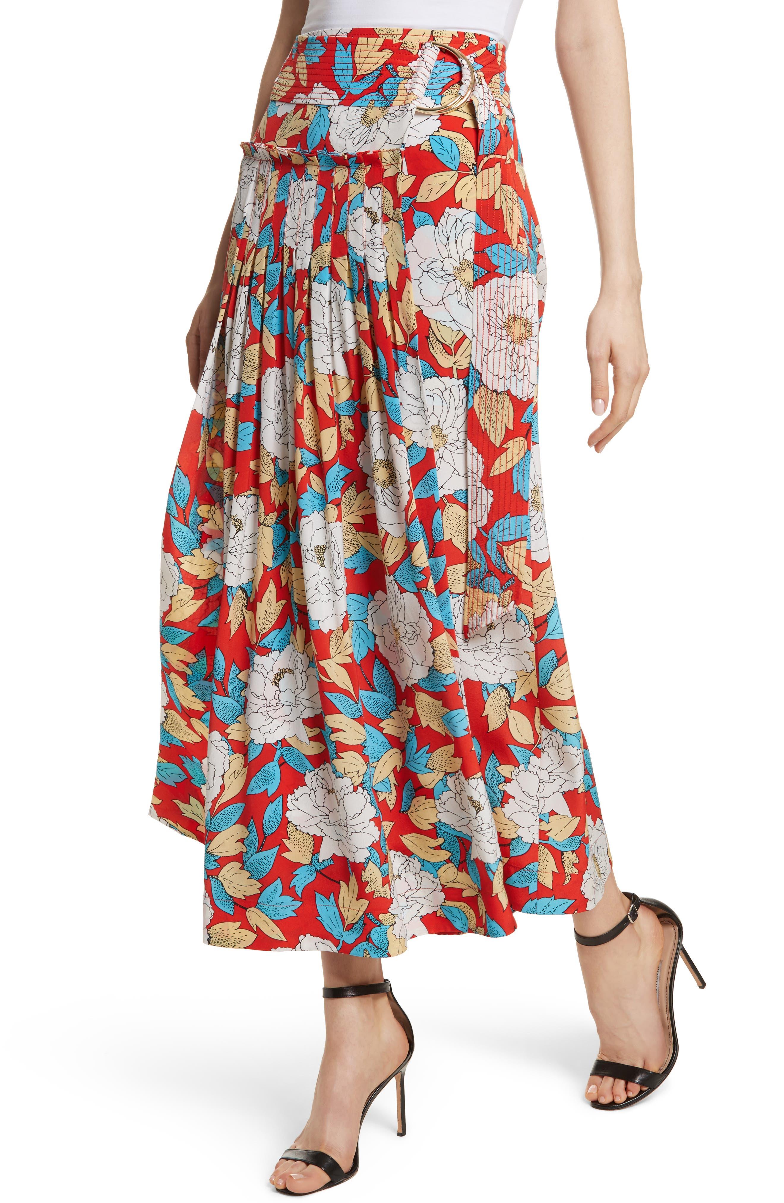Diane von Furstenberg Floral Silk Midi Skirt,                             Alternate thumbnail 4, color,                             Boswell Poppy