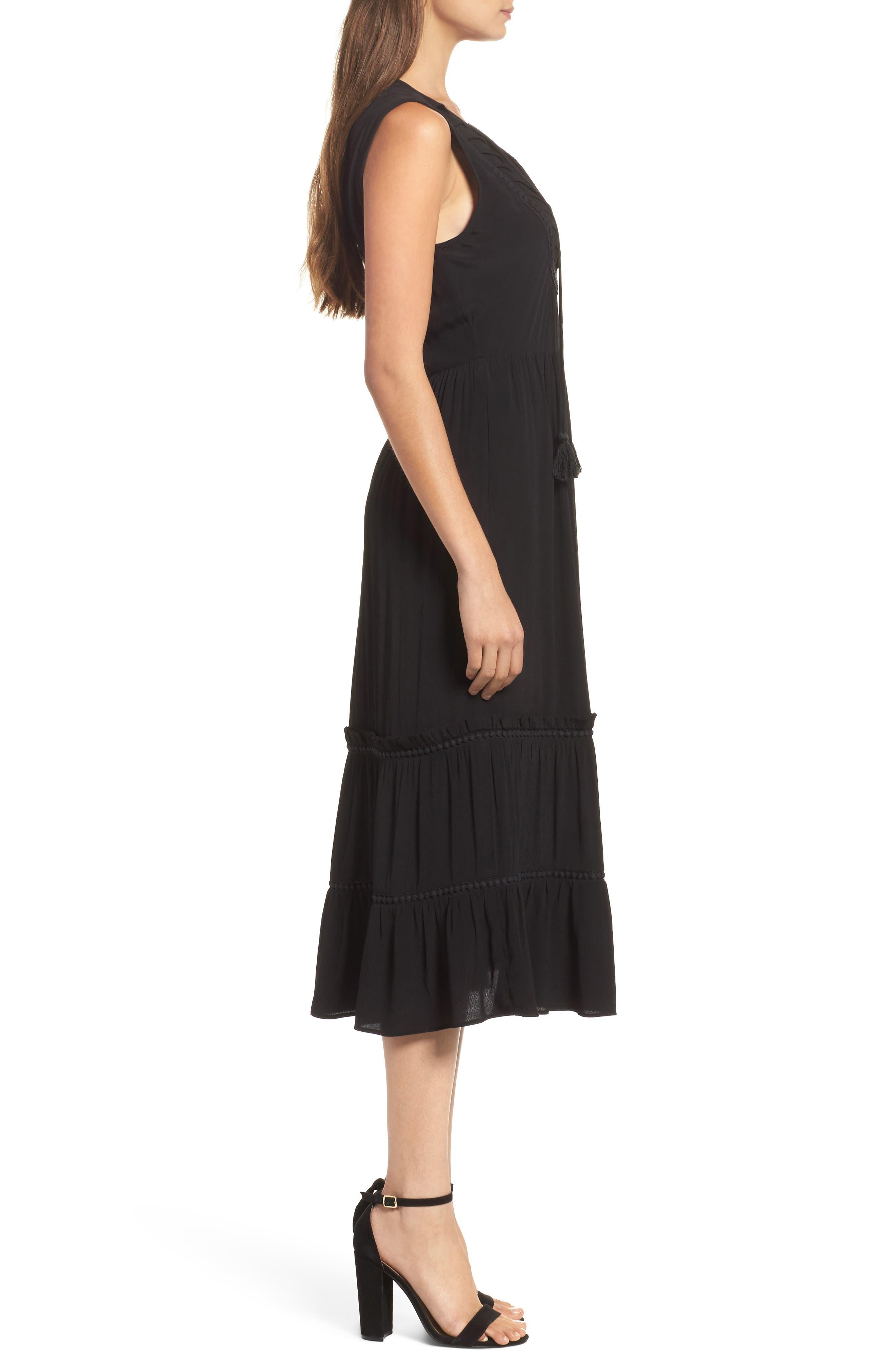 Luna Midi Dress,                             Alternate thumbnail 3, color,                             Black