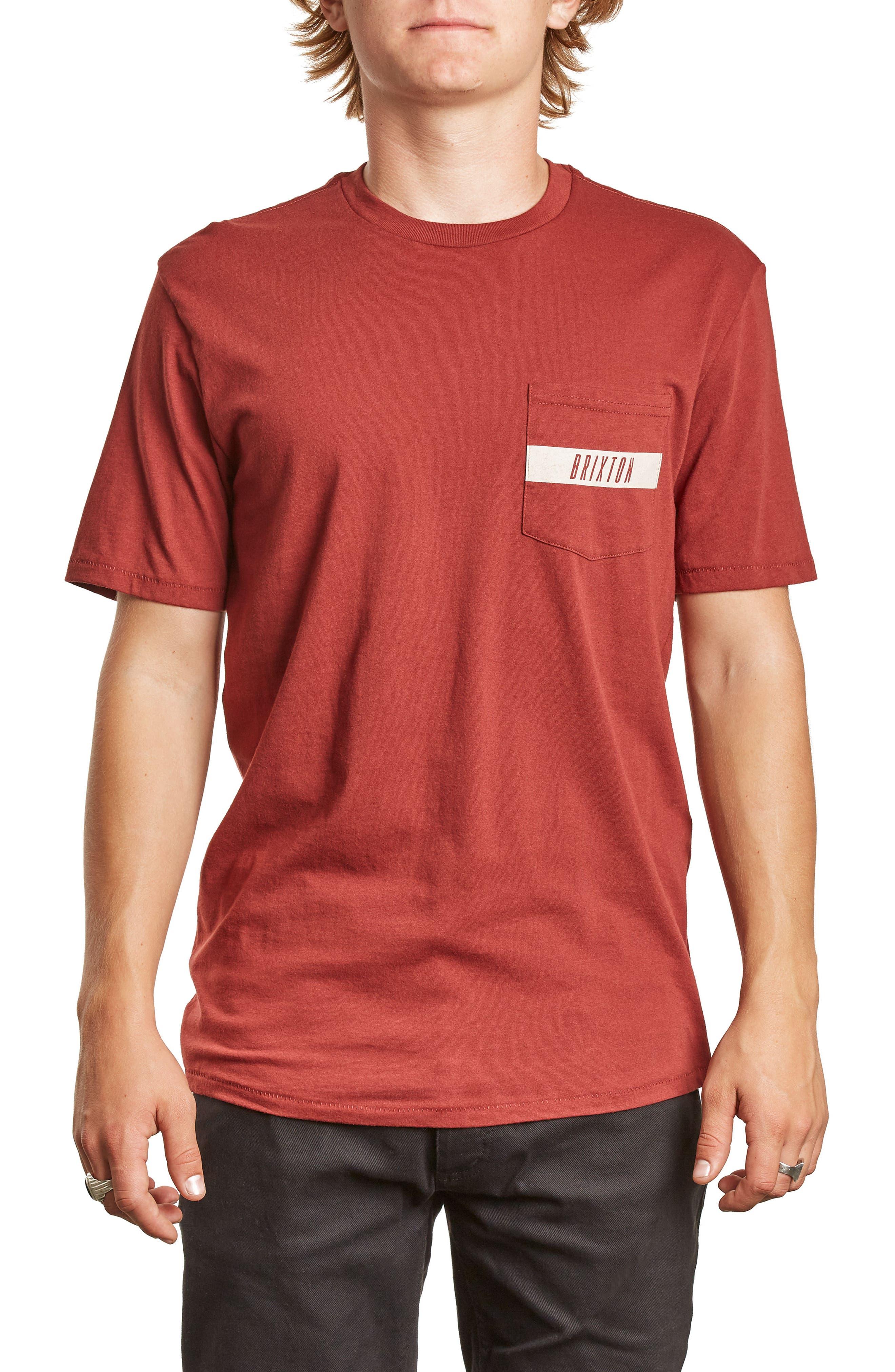 Tract Pocket T-Shirt,                             Main thumbnail 1, color,                             Brick