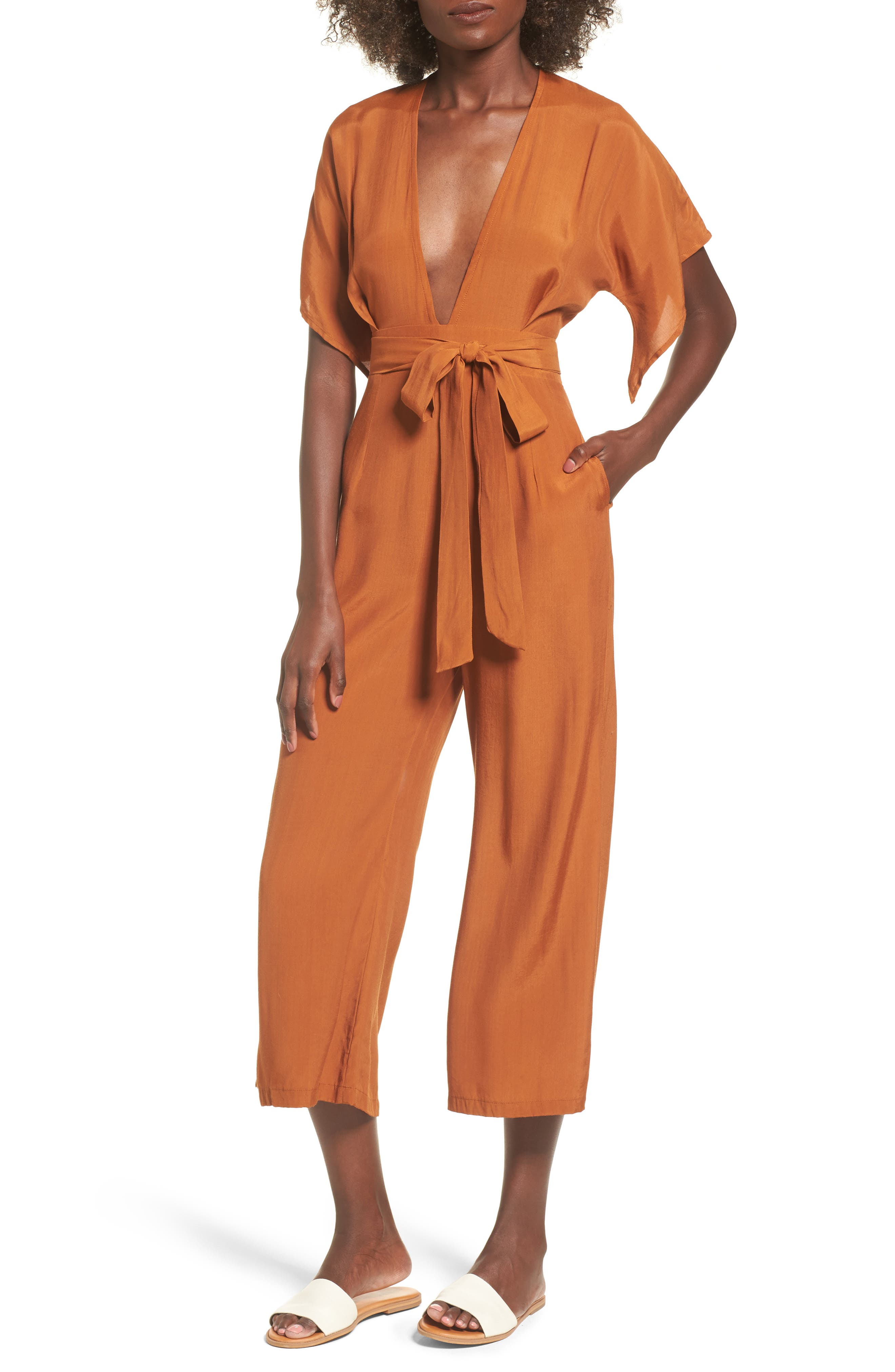 Alternate Image 1 Selected - FAITHFULL THE BRAND Cedric Plunging Jumpsuit
