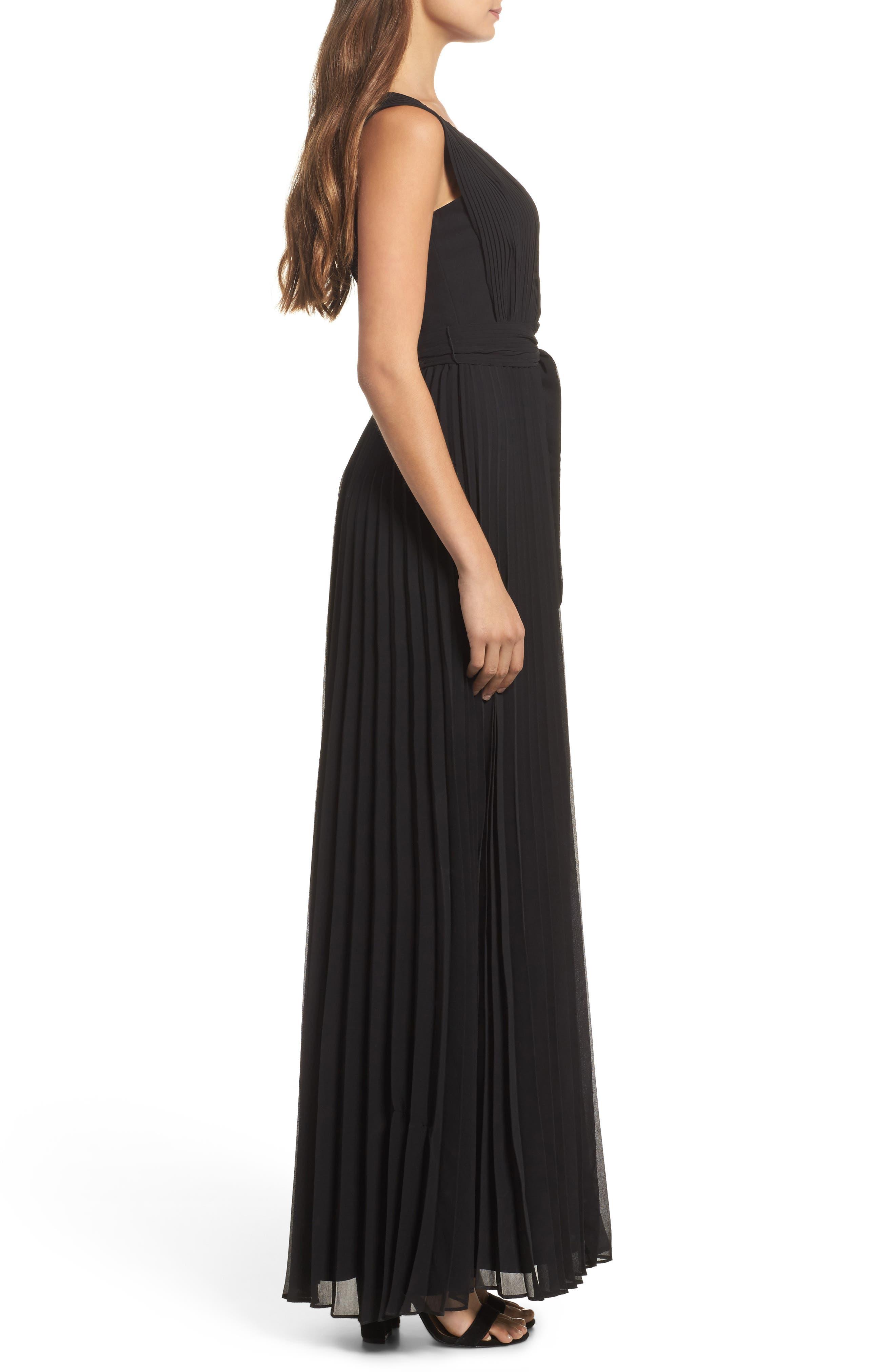 Gardenia Pleat Gown,                             Alternate thumbnail 3, color,                             Black