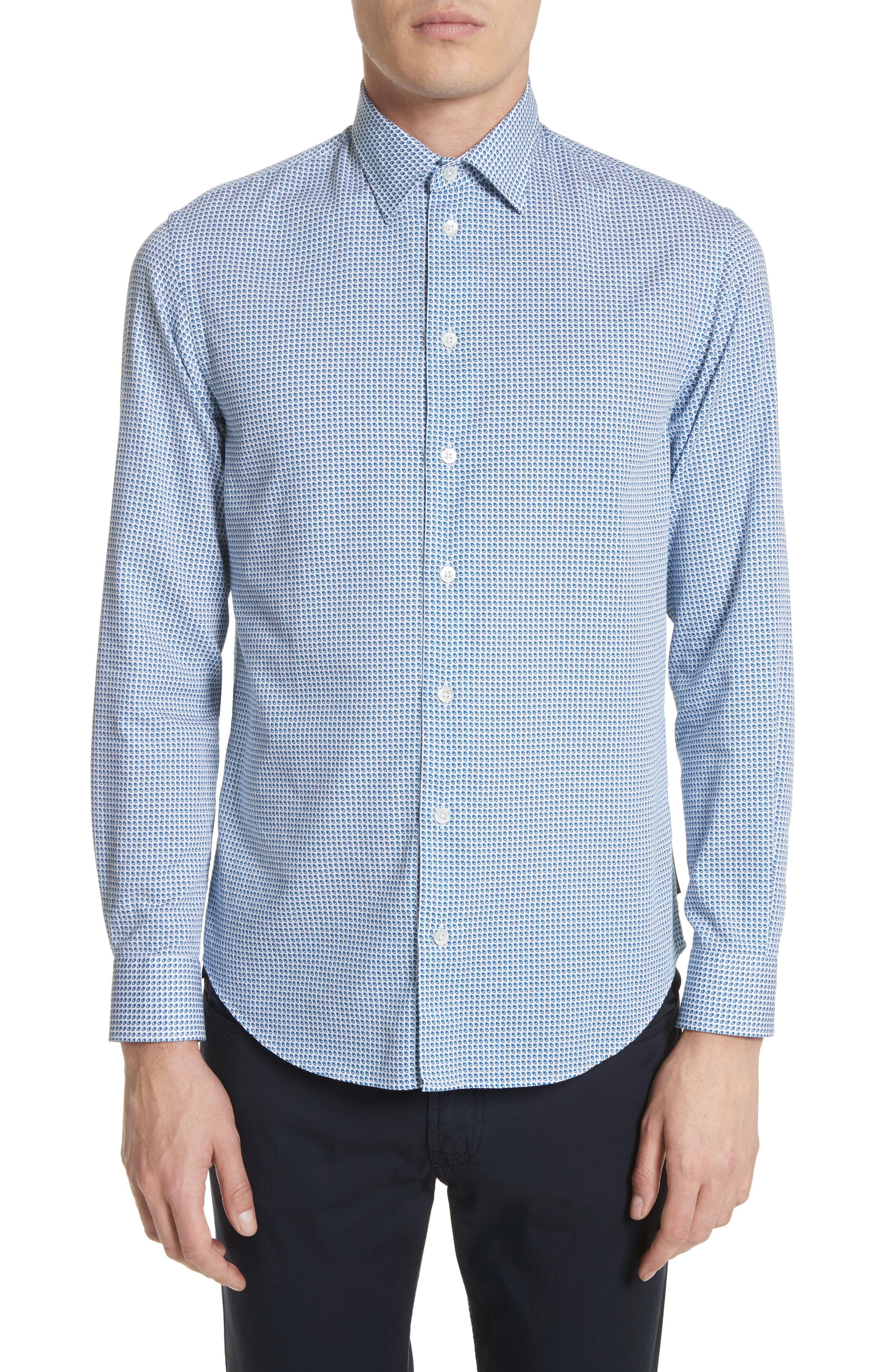 Geo Print Regular Fit Sport Shirt,                             Main thumbnail 1, color,                             Blue