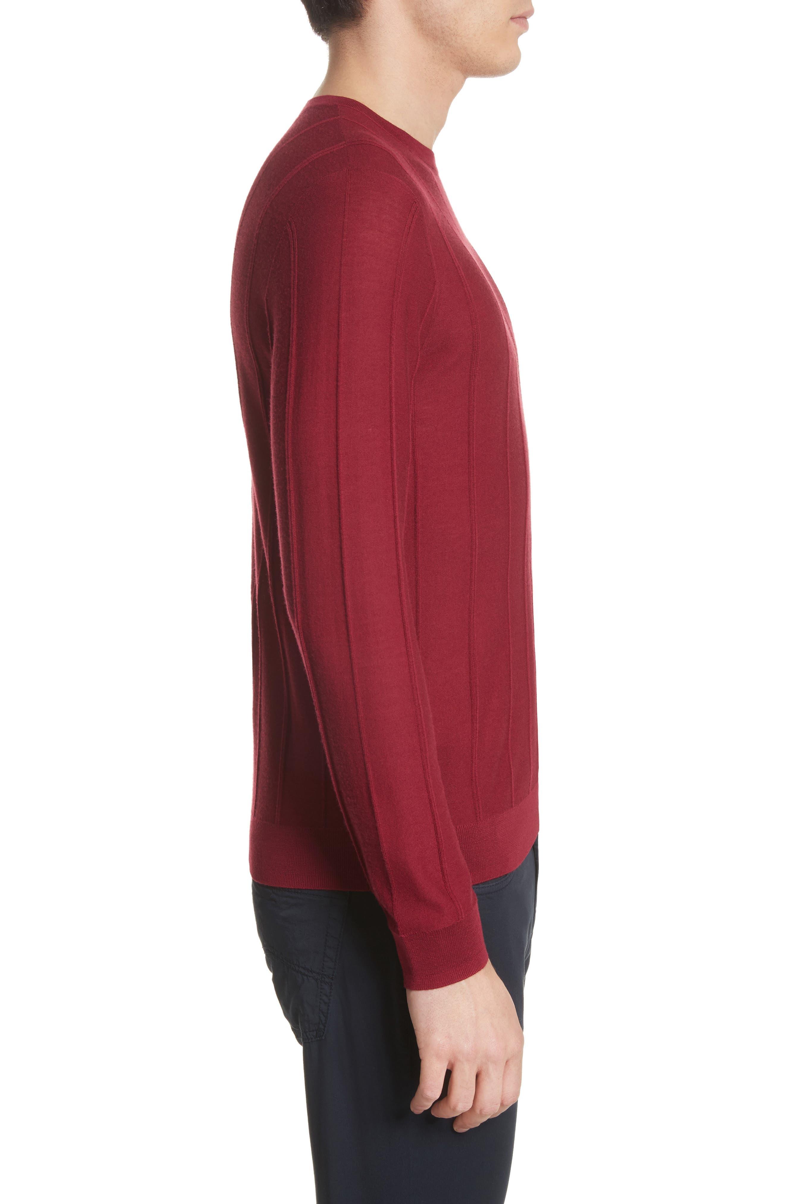 Slim Fit Wool Crewneck Sweater,                             Alternate thumbnail 3, color,                             Borgogna