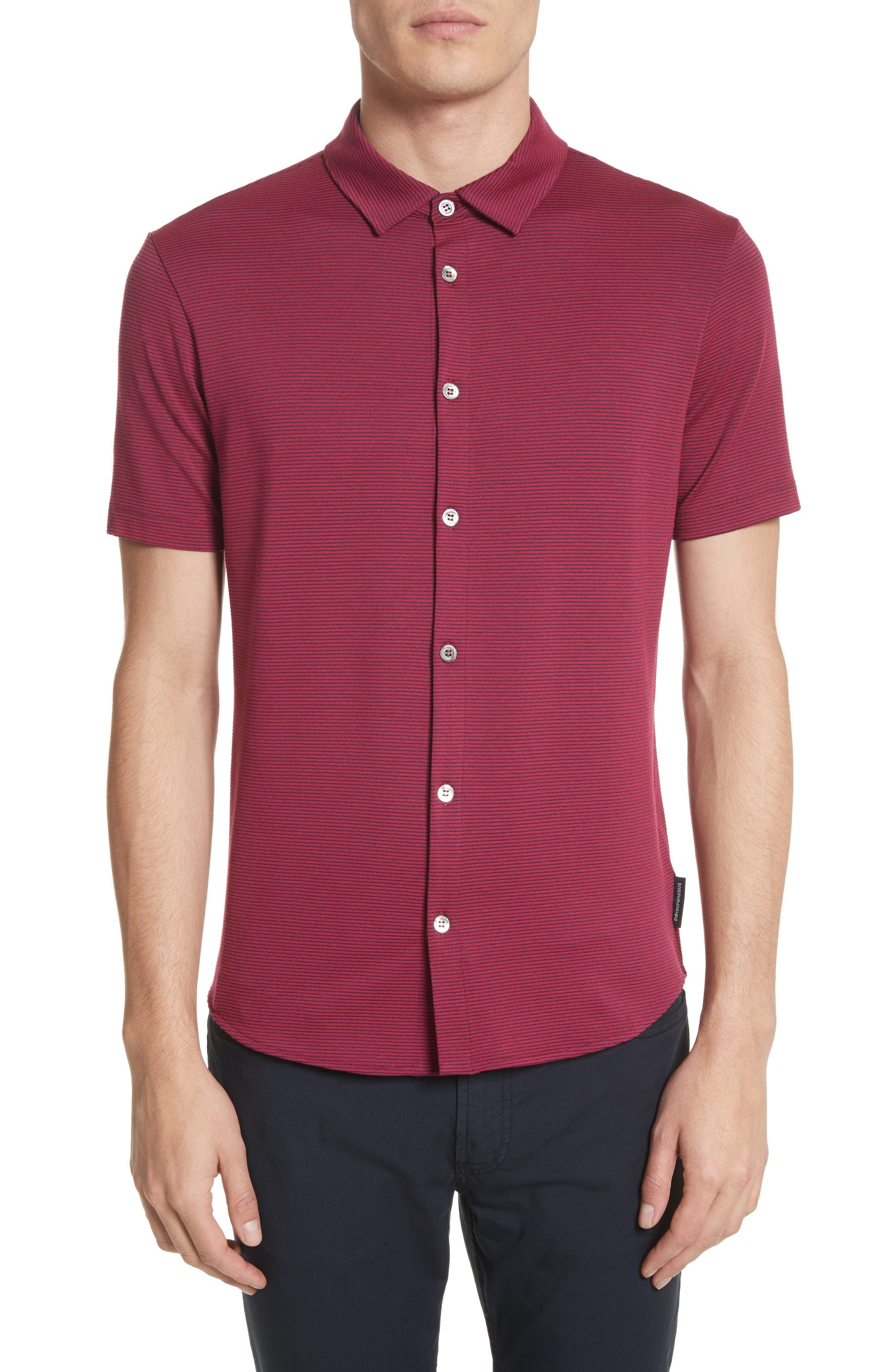 Slim Fit Knit Shirt,                             Main thumbnail 1, color,                             Borgogna