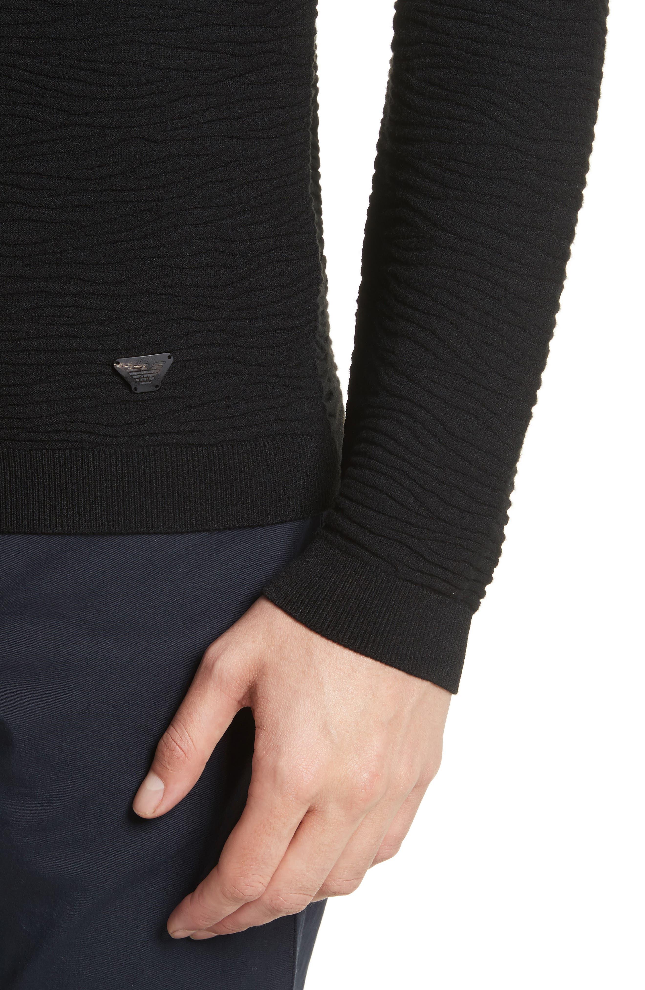 Slim Fit Allover Links Sweater,                             Alternate thumbnail 4, color,                             Black