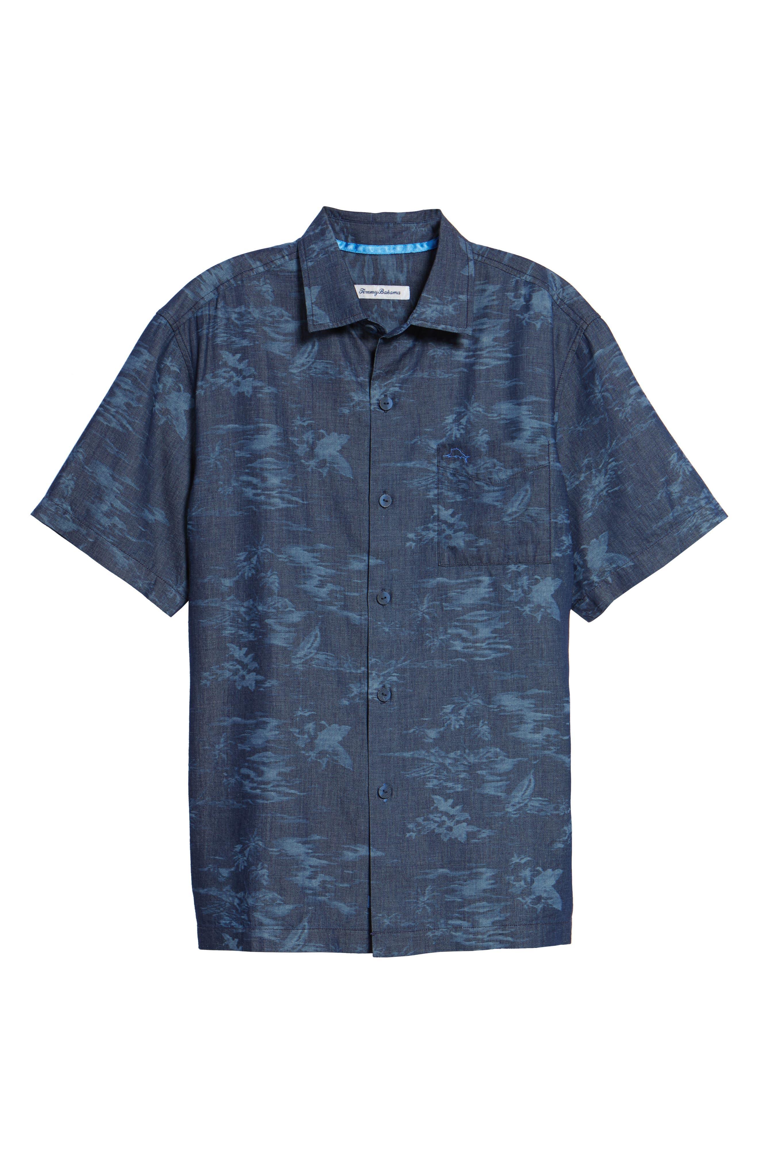 South Beach Scenic Sport Shirt,                             Alternate thumbnail 6, color,                             Indigo