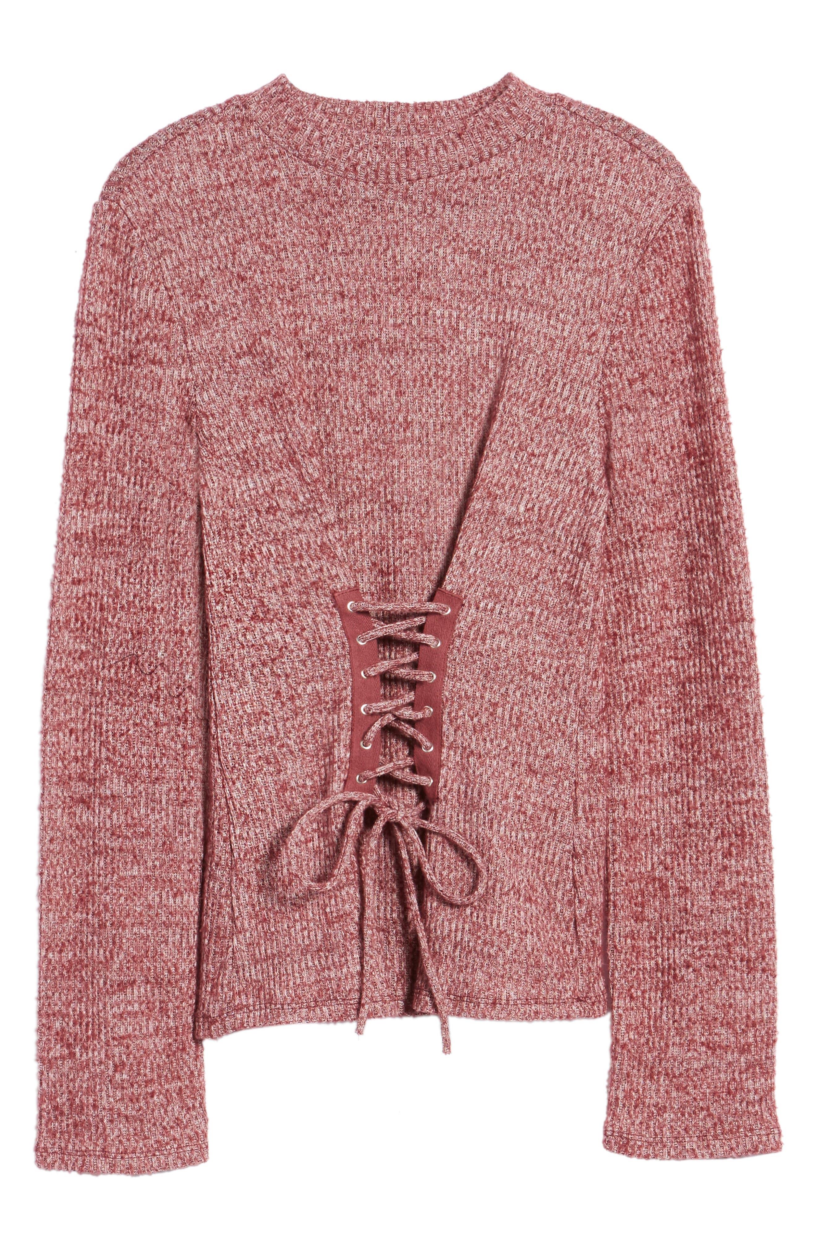 Rib Knit Corset Top,                             Alternate thumbnail 6, color,                             Burgundy Royale