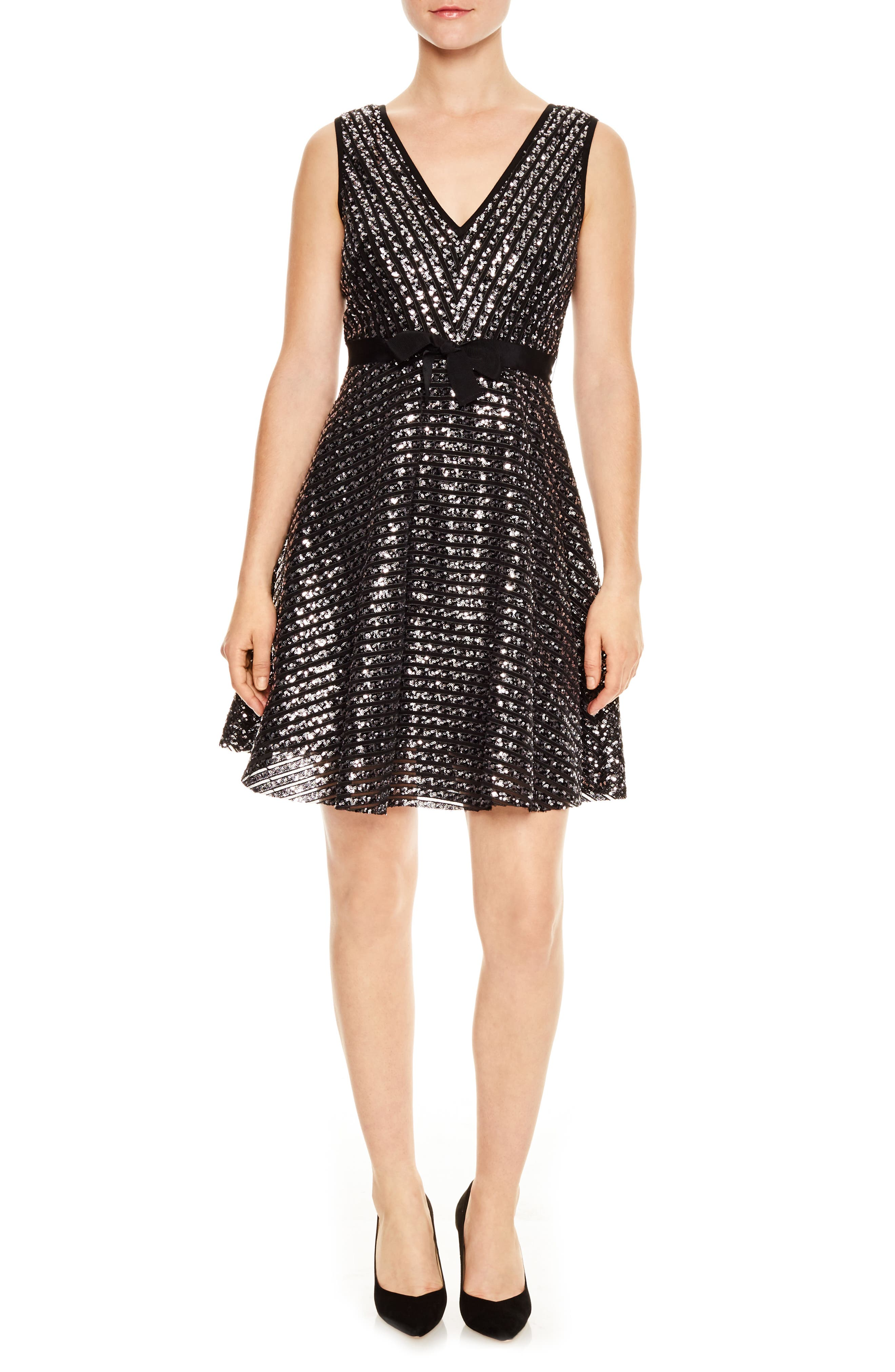 Nolene Sequin Fit & Flare Dress,                         Main,                         color, Silver