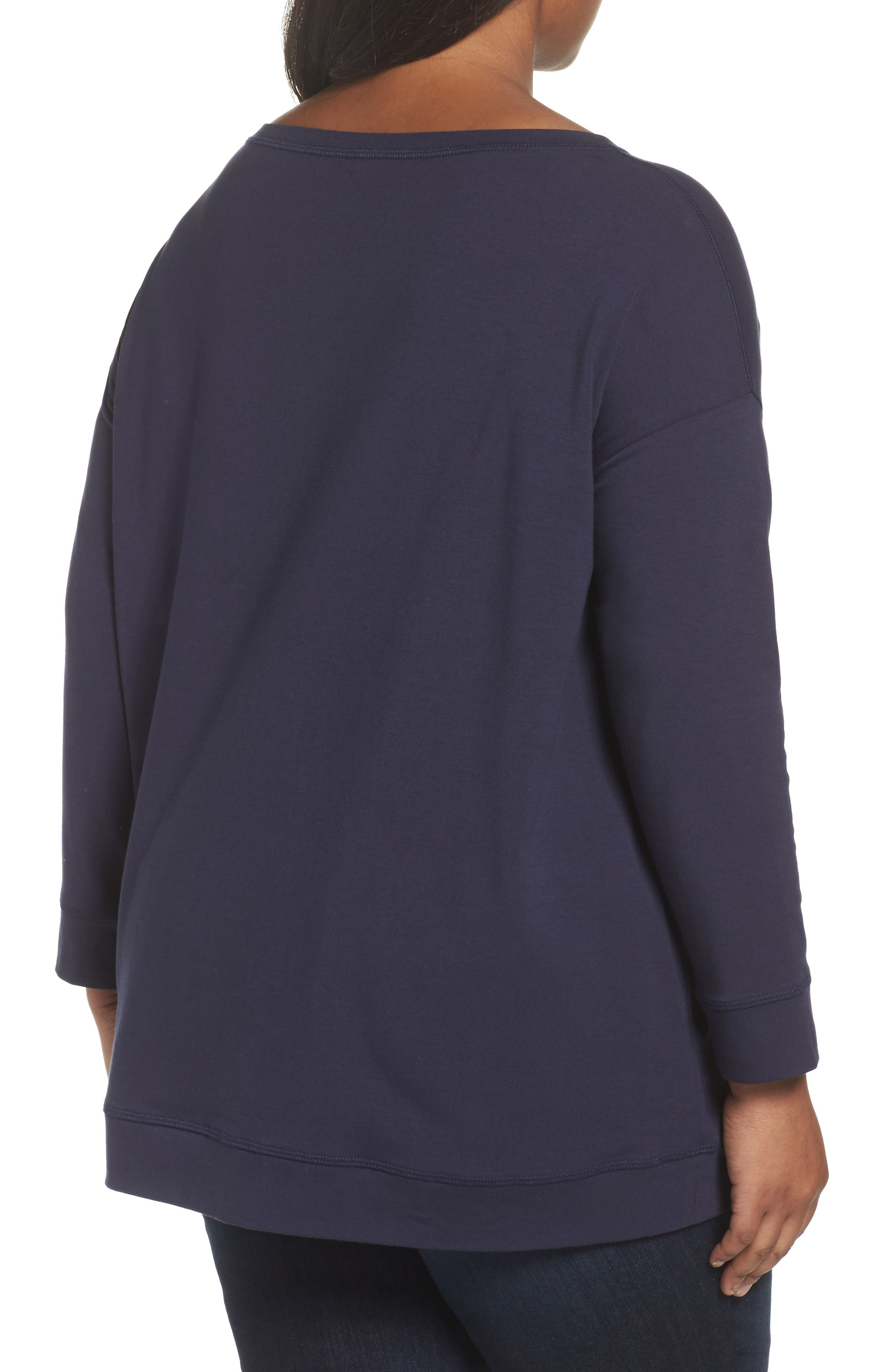 Alternate Image 2  - Eileen Fisher Jewel Neck Organic Stretch Cotton Tee (Plus Size)