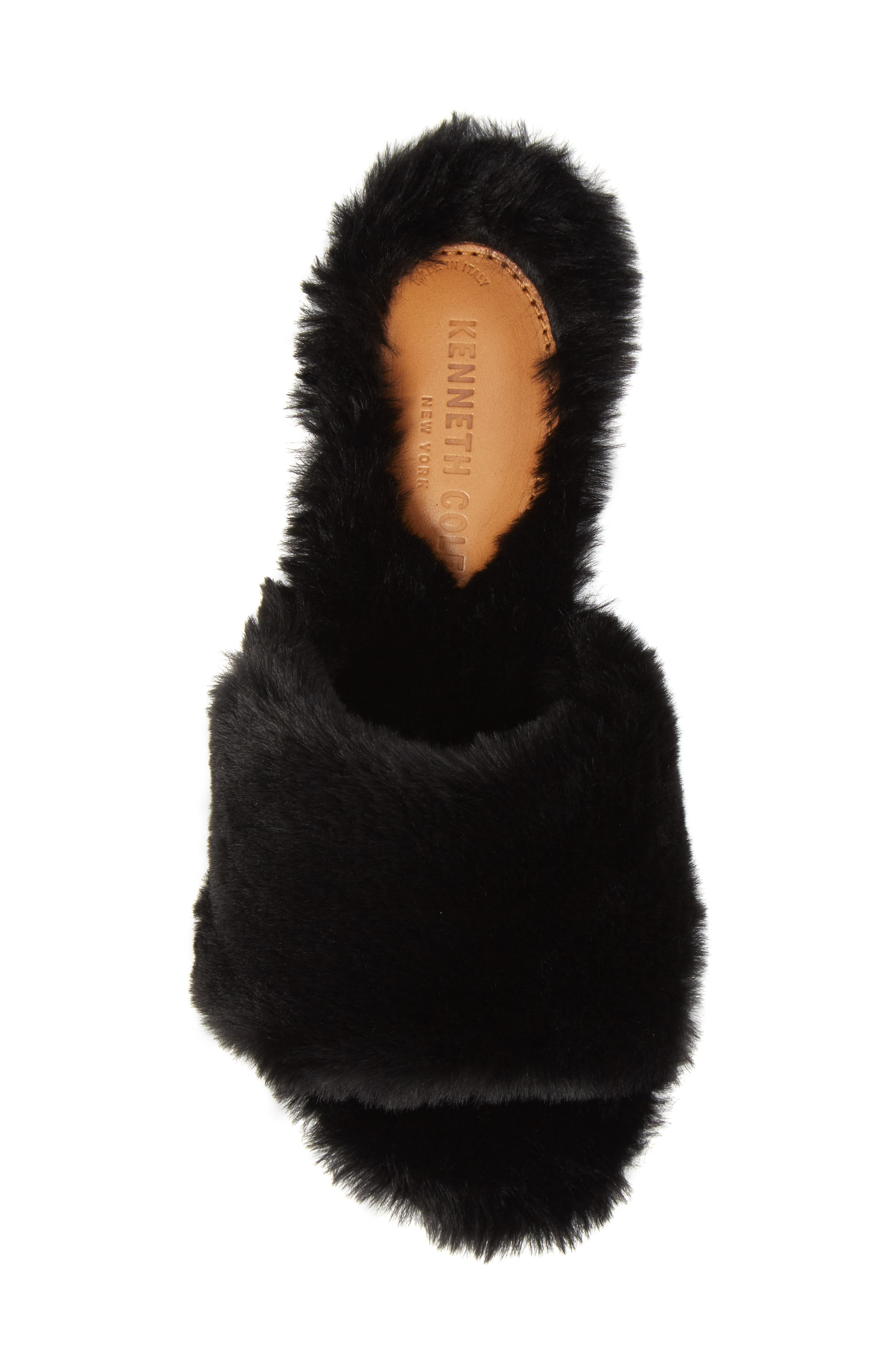 Peggy Faux Fur Slide Sandal,                             Alternate thumbnail 5, color,                             Black Faux Fur