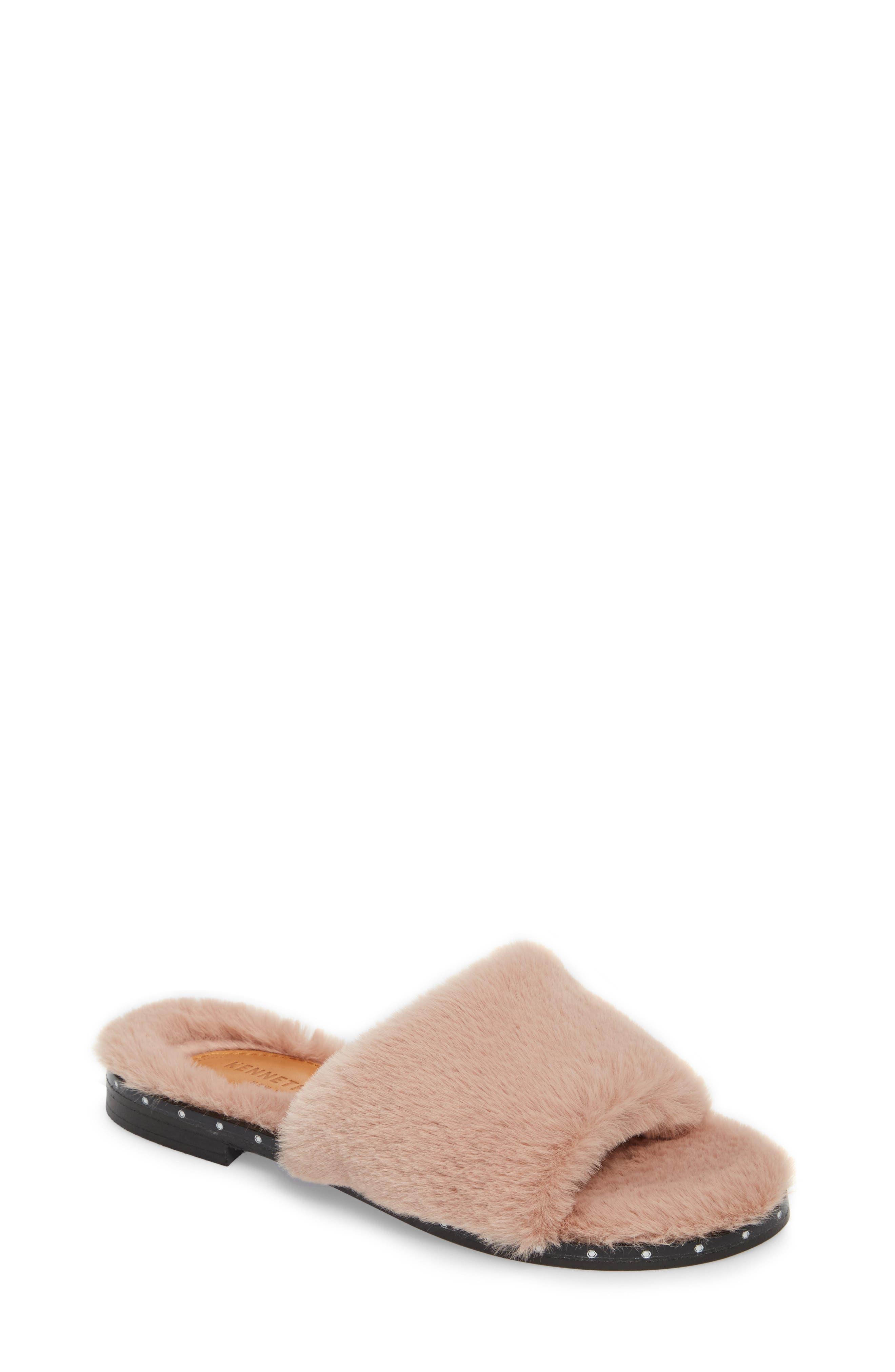 Kenneth Cole New York Peggy Faux Fur Slide Sandal (Women)