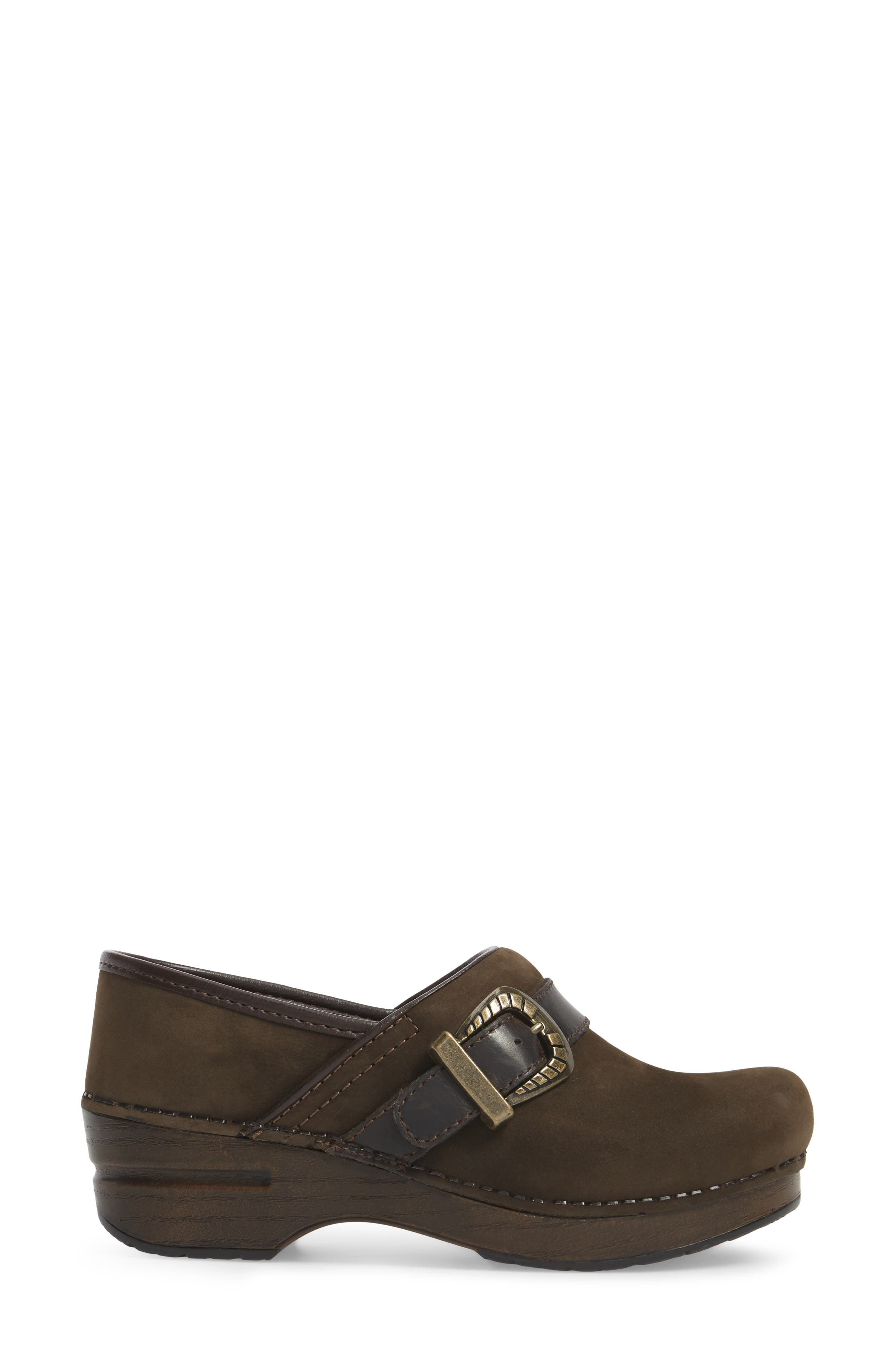 Pammy Clog,                             Alternate thumbnail 3, color,                             Brown Milled Nubuck Leather