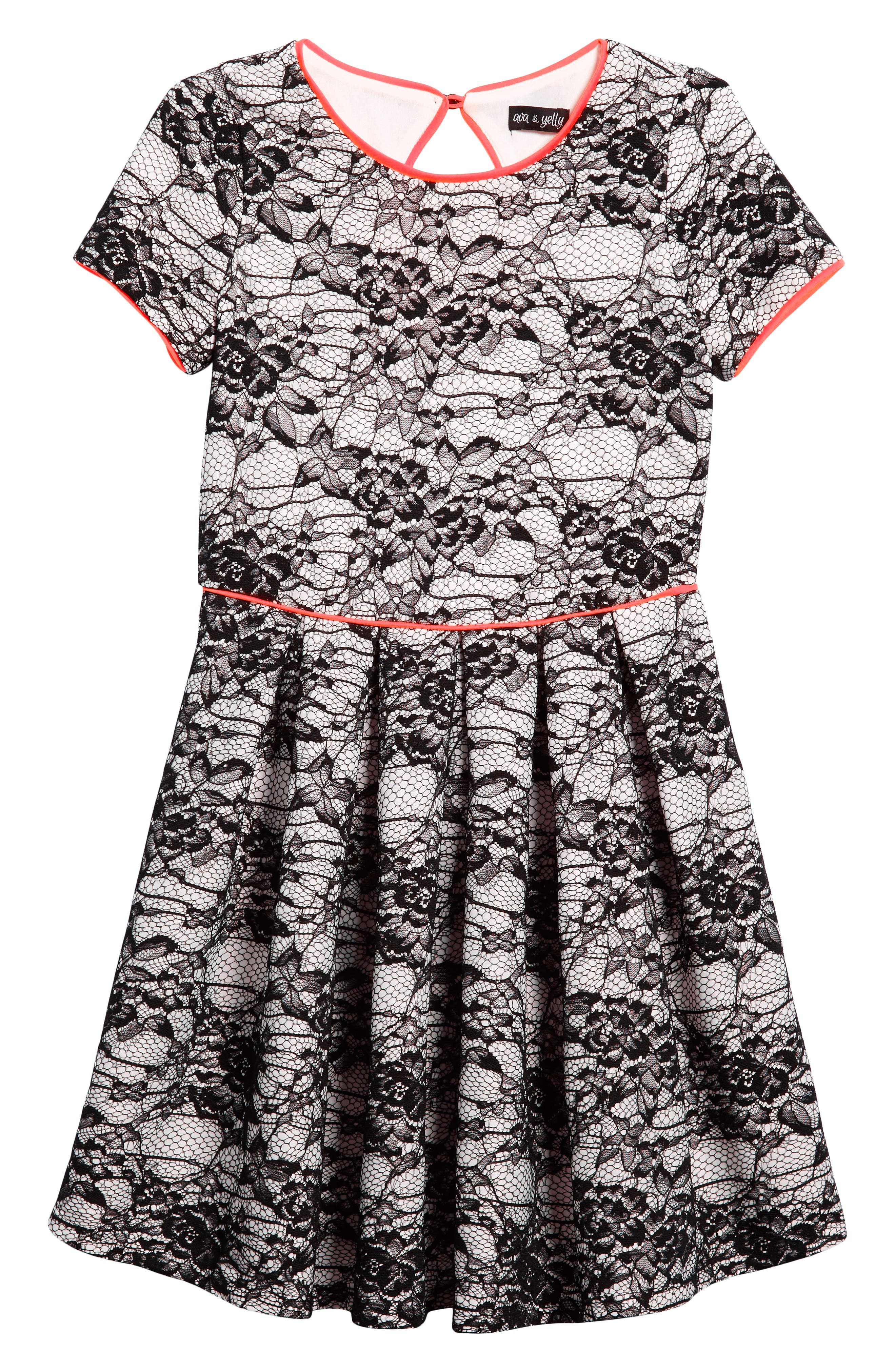 Lace Overlay Skater Dress,                         Main,                         color, Black/ White