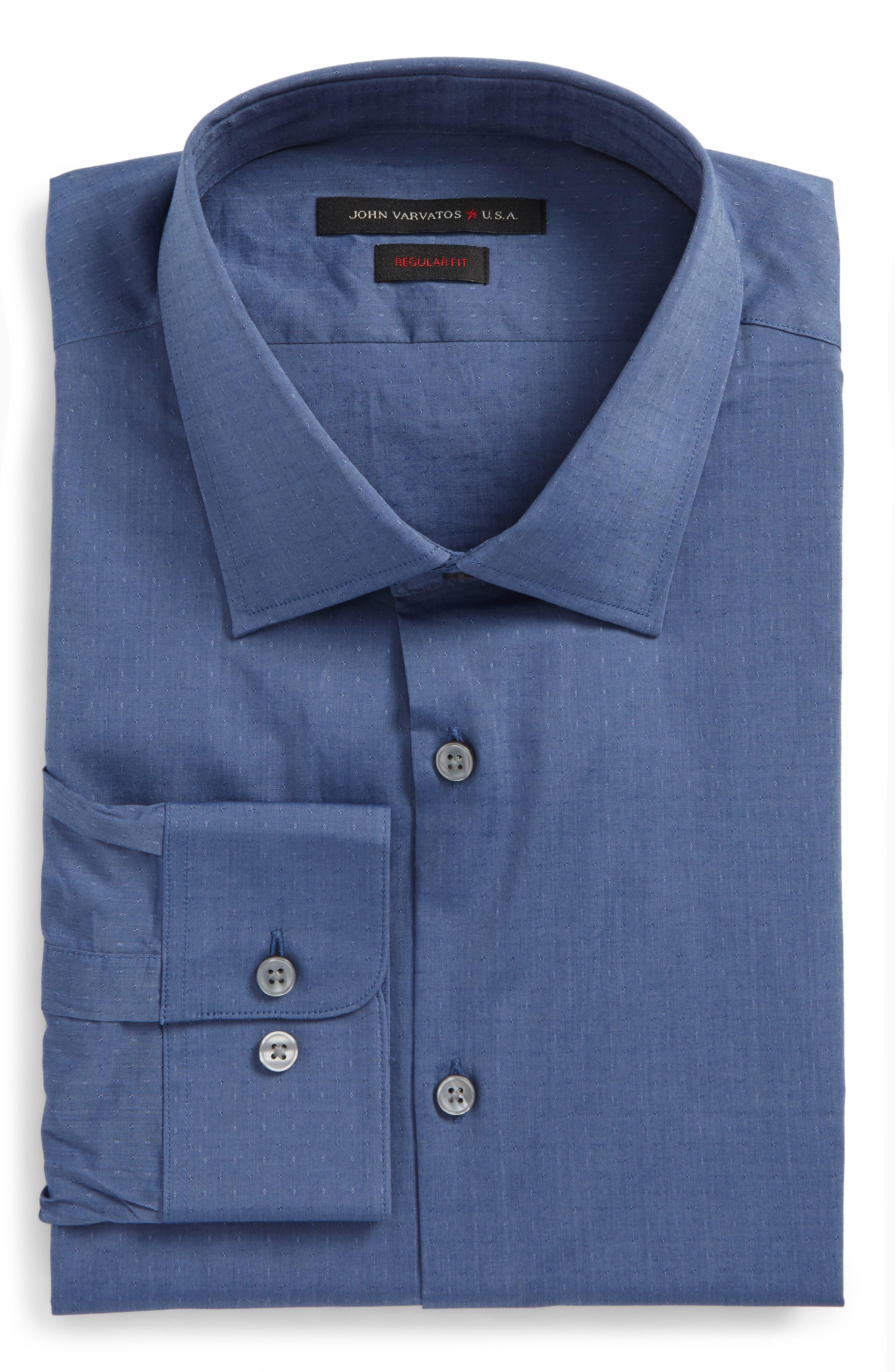 Regular Fit Stretch Dobby Dress Shirt,                         Main,                         color, Atlantic Blue