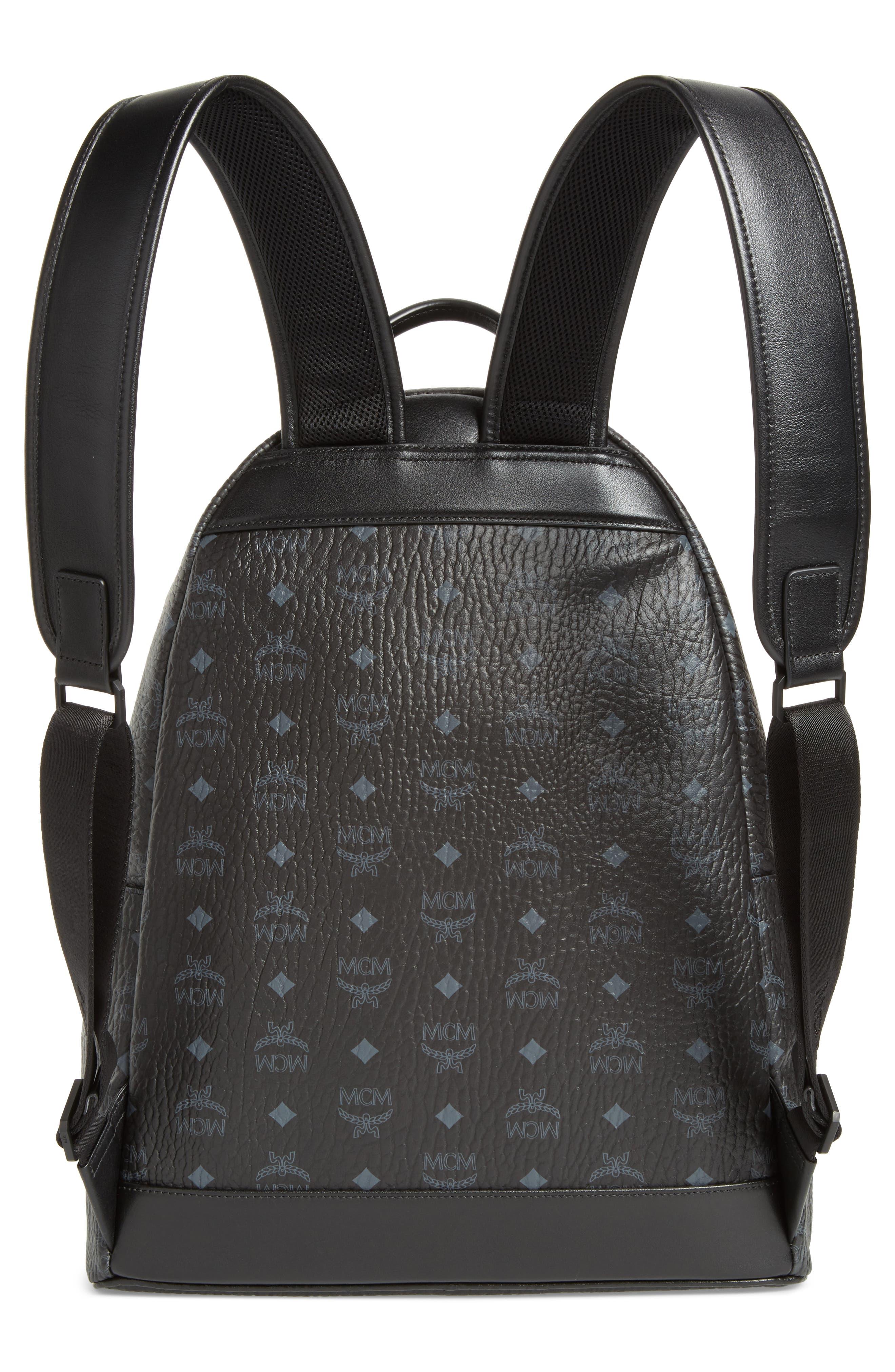 Stark Visetos Patch Faux Leather Backpack,                             Alternate thumbnail 2, color,                             Black
