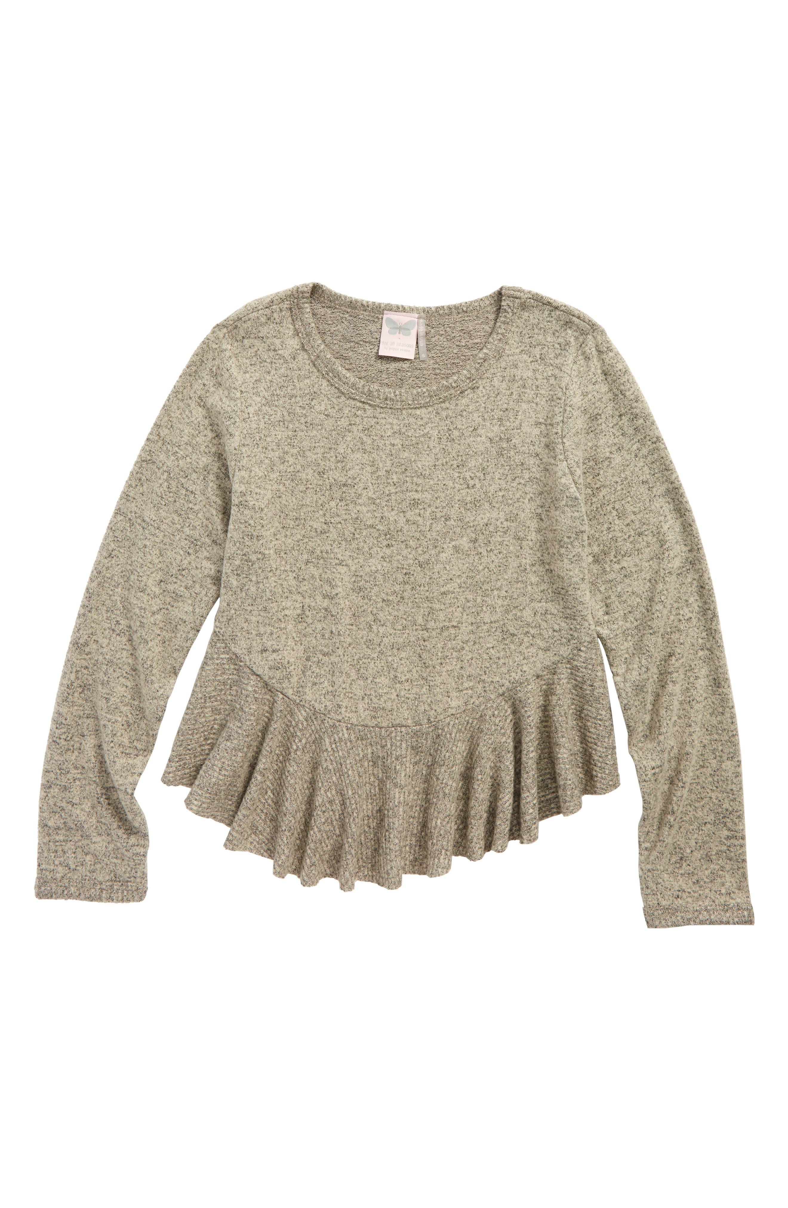 Fleece Peplum Top,                         Main,                         color, Taupe