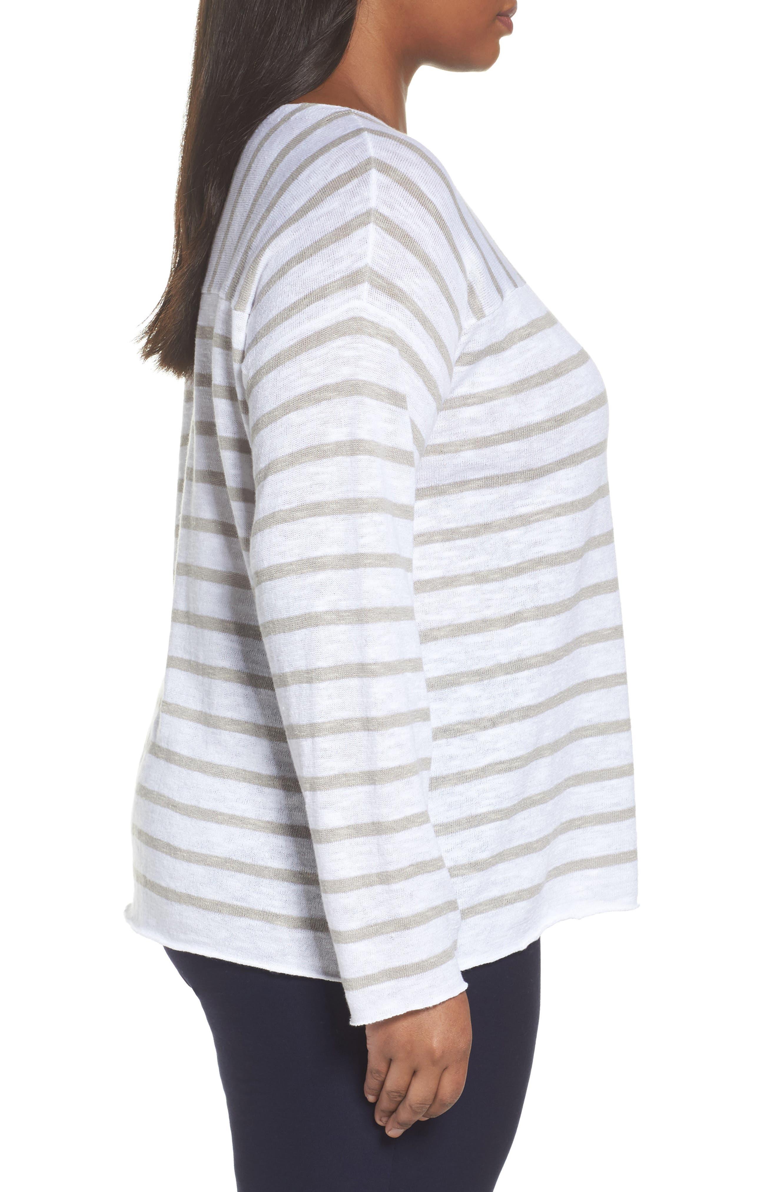 Alternate Image 3  - Eileen Fisher Stripe Organic Linen & Cotton Top (Plus Size)