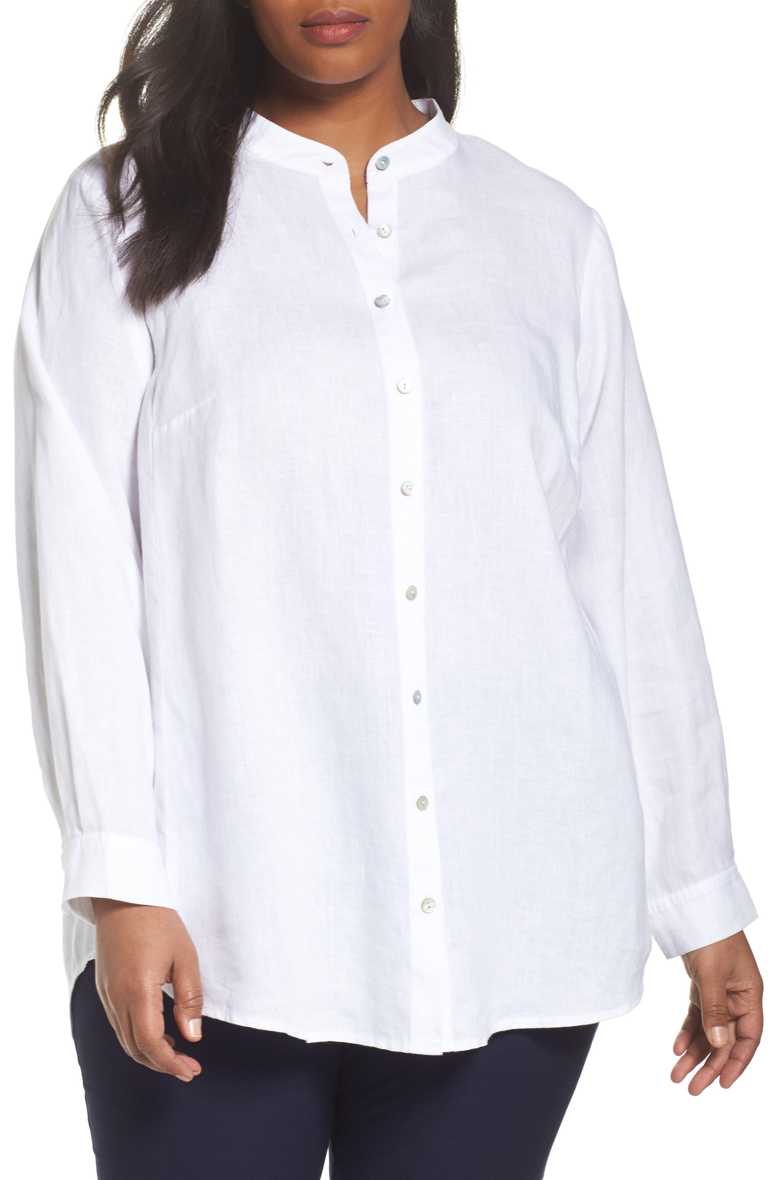Alternate Image 1 Selected - Eileen Fisher Organic Linen Tunic Shirt (Plus Size)