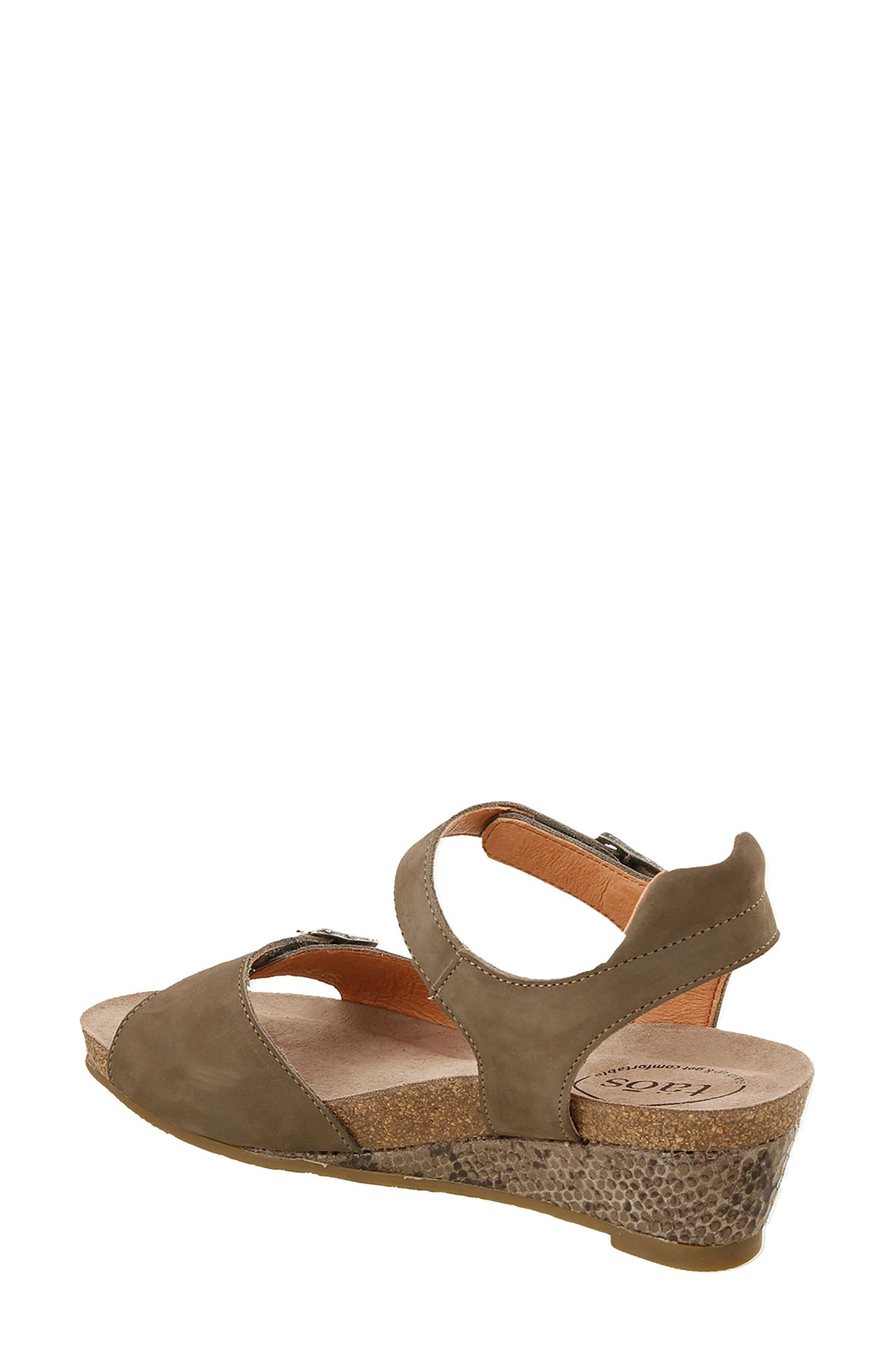 Traveler Wedge Sandal,                             Alternate thumbnail 2, color,                             Taupe Reptile Embossed Leather