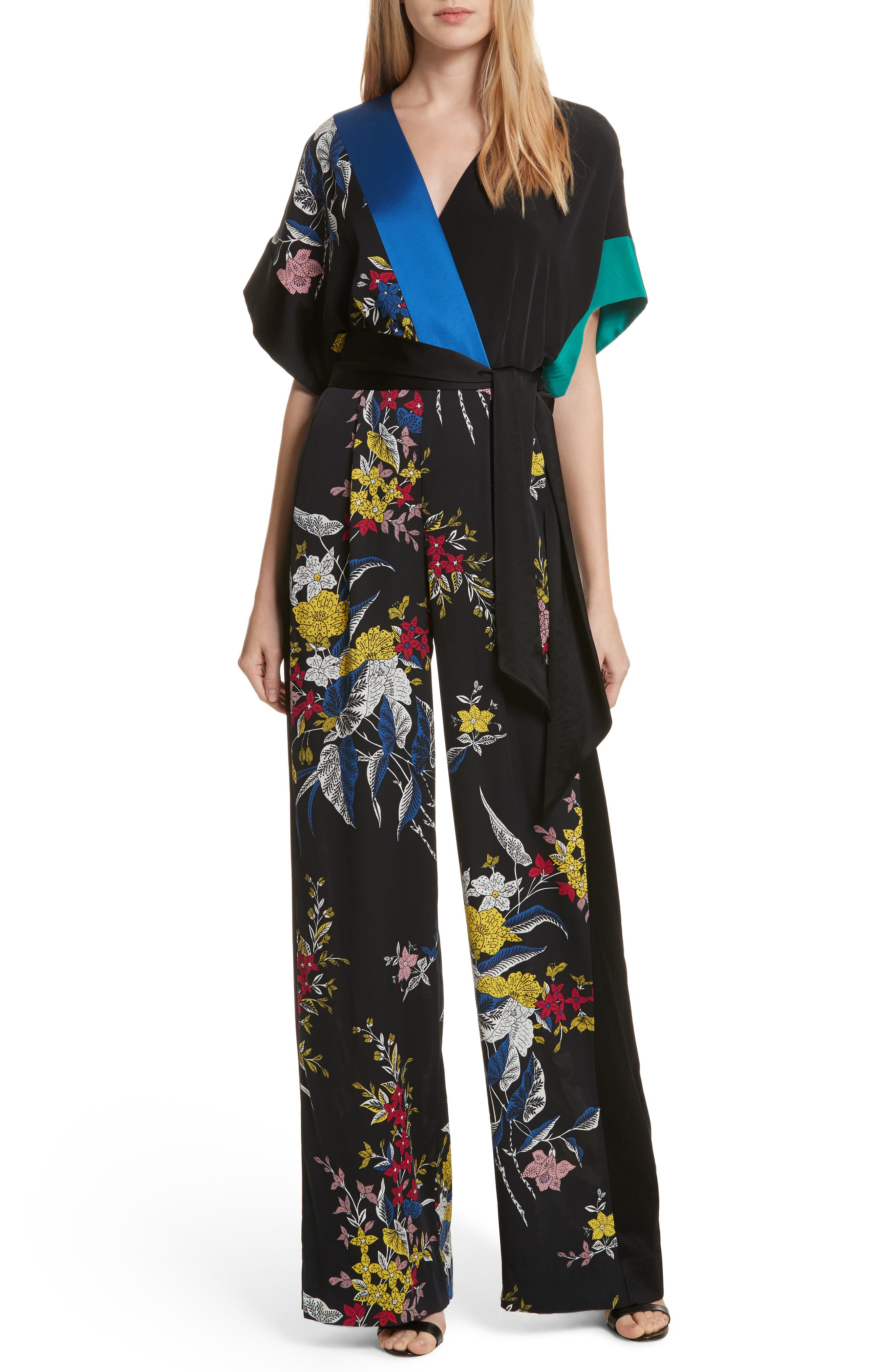 Faux Wrap Colorblock Silk Jumpsuit,                         Main,                         color, Camden Black Multi