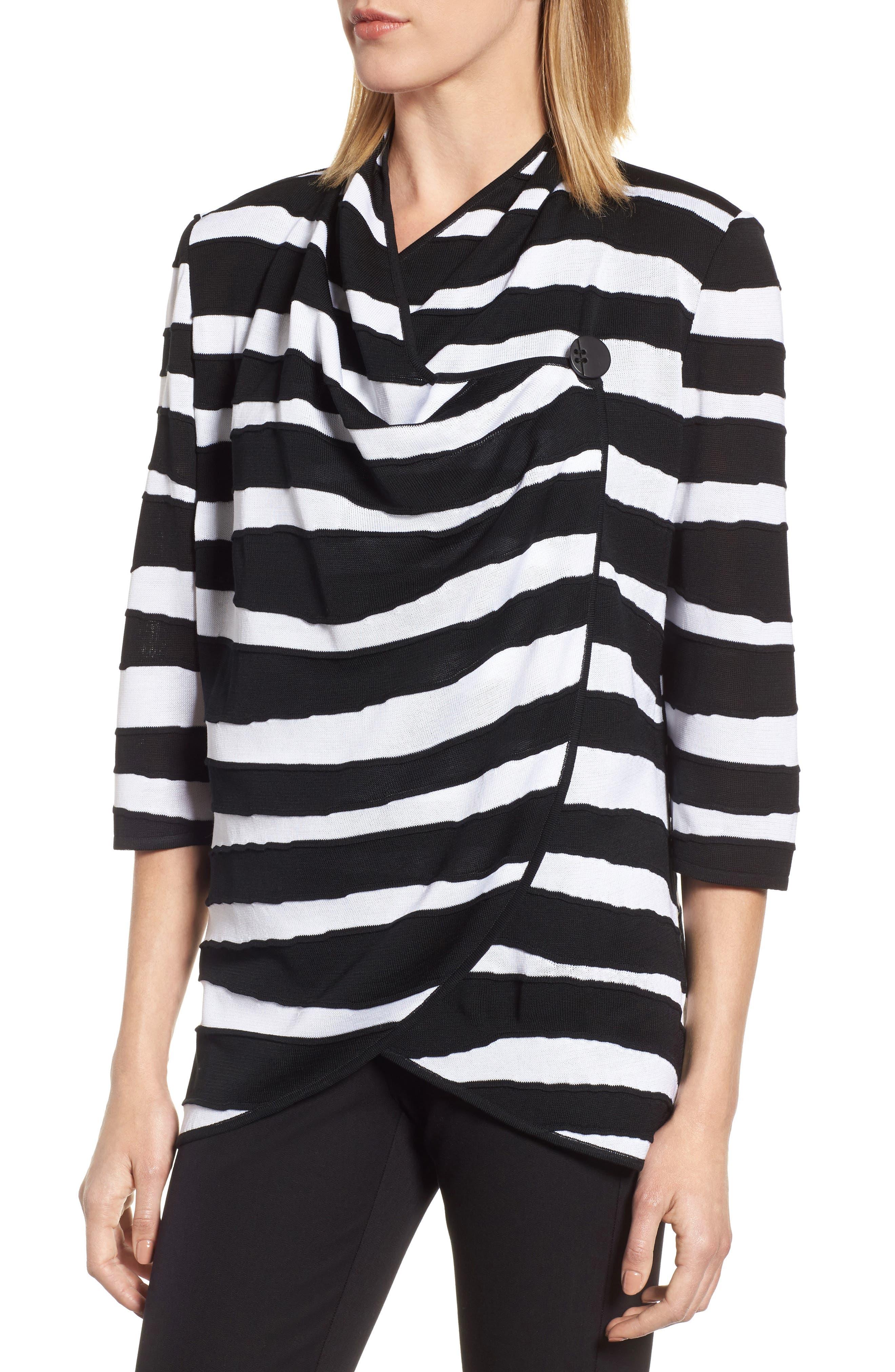 Animal Jacquard Knit Jacket,                             Alternate thumbnail 4, color,                             Black/ White