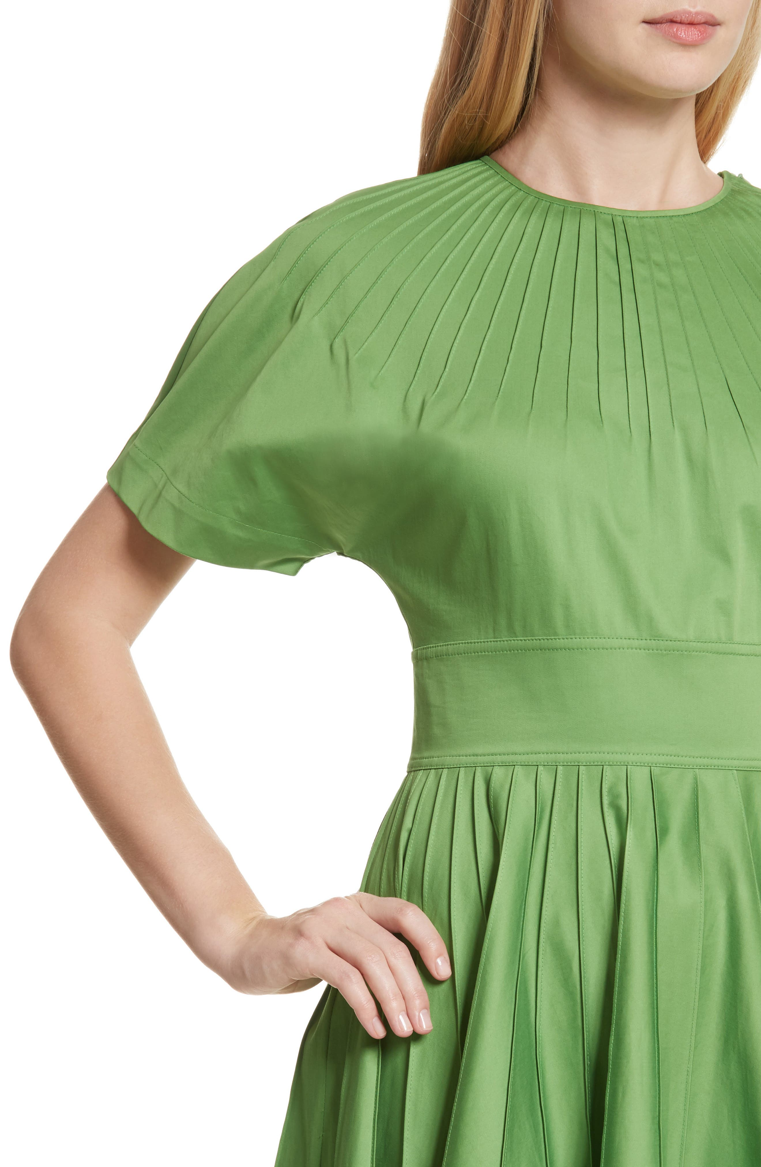 Diane von Furstenberg Pintuck Dress,                             Alternate thumbnail 4, color,                             Grass