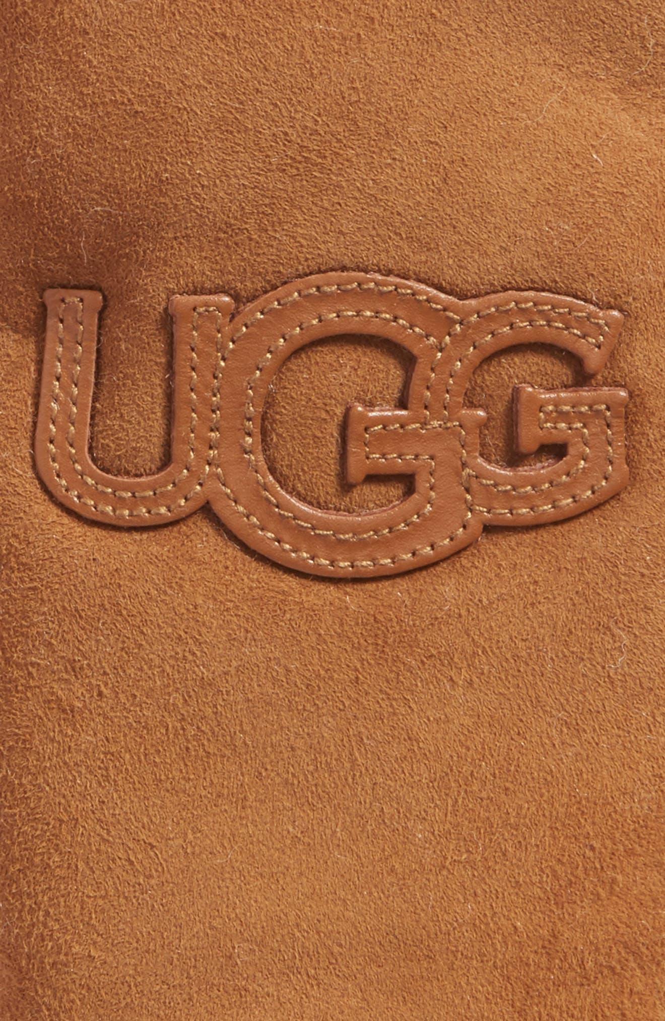 Alternate Image 2  - UGG® Heritage Logo Genuine Shearling Mittens