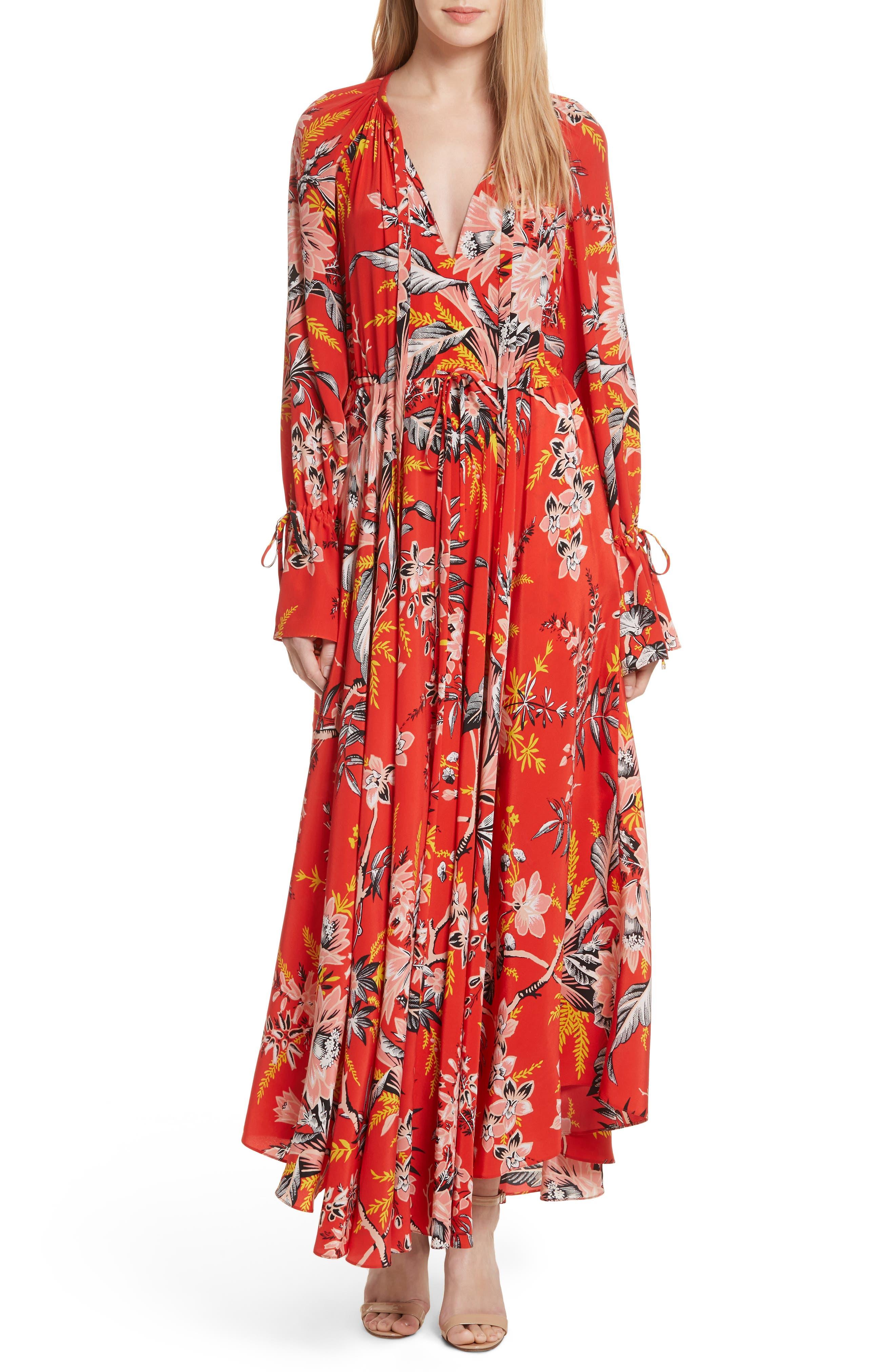 Diane von Furstenberg Floral Silk Maxi Dress,                             Main thumbnail 1, color,                             Avalon Poppy