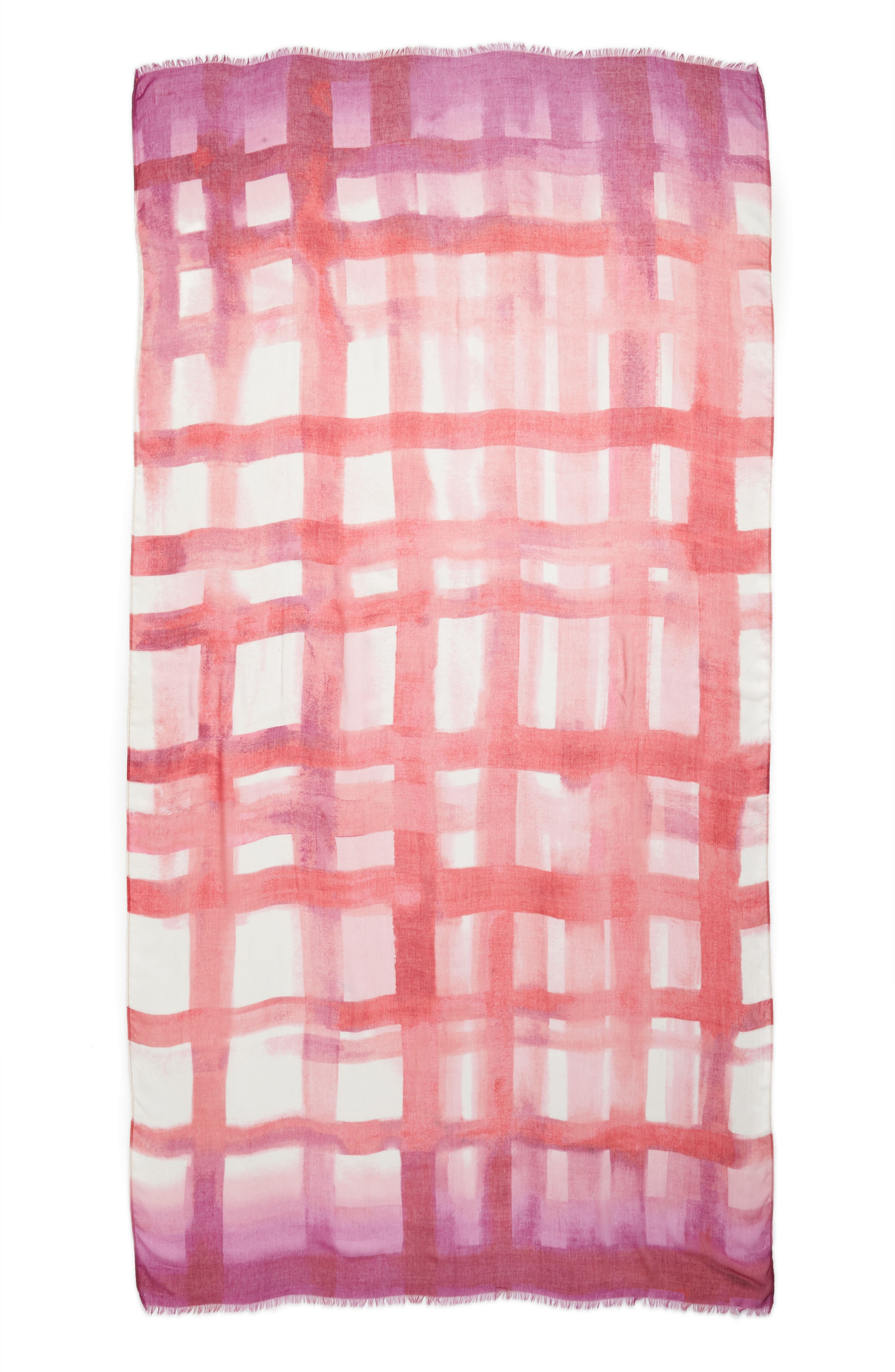 Print Modal & Silk Scarf,                             Alternate thumbnail 3, color,                             Pink Painted Gingham Print